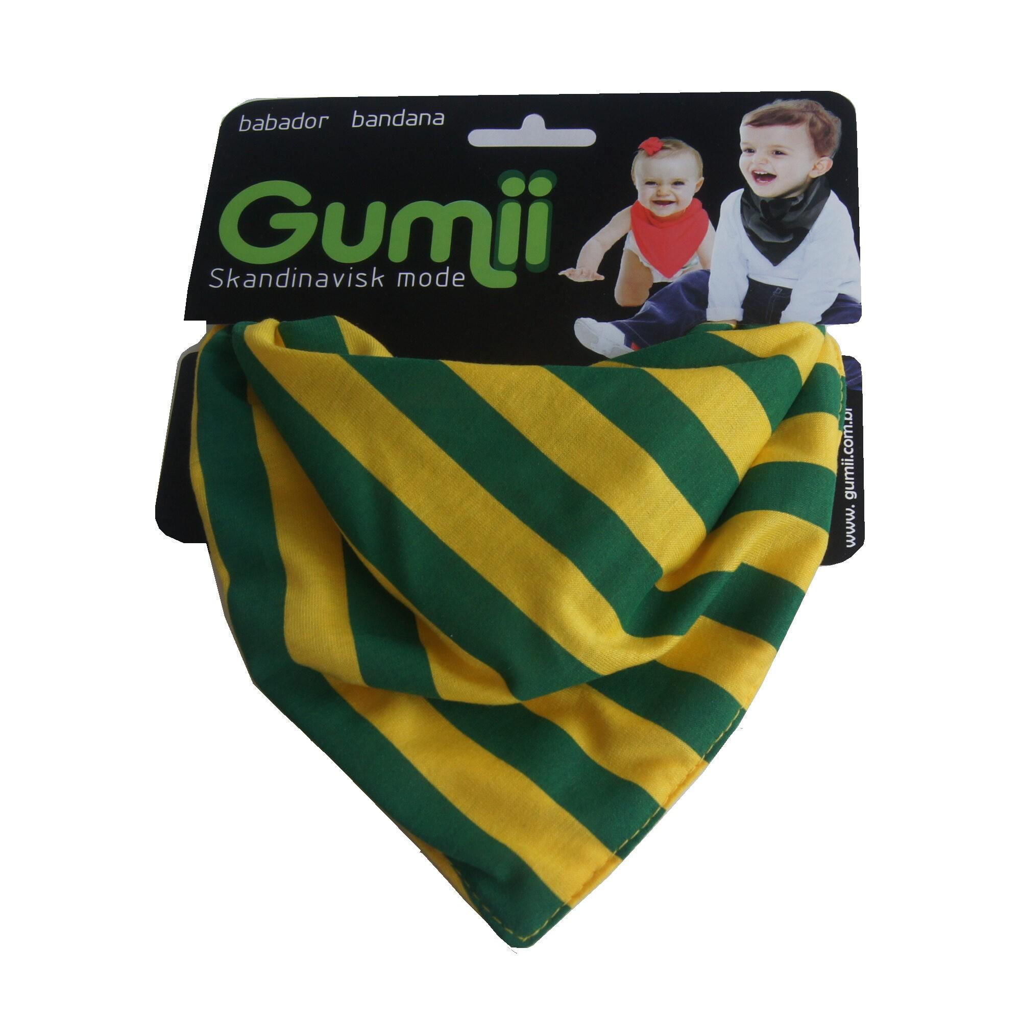Babador Bandana Listrado Verde e Amarelo Gumii