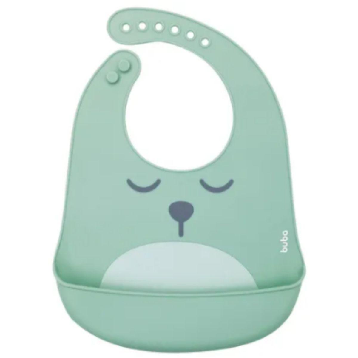 Babador De Silicone Bebê Impermeável Blw Migalhas Gumy Verde