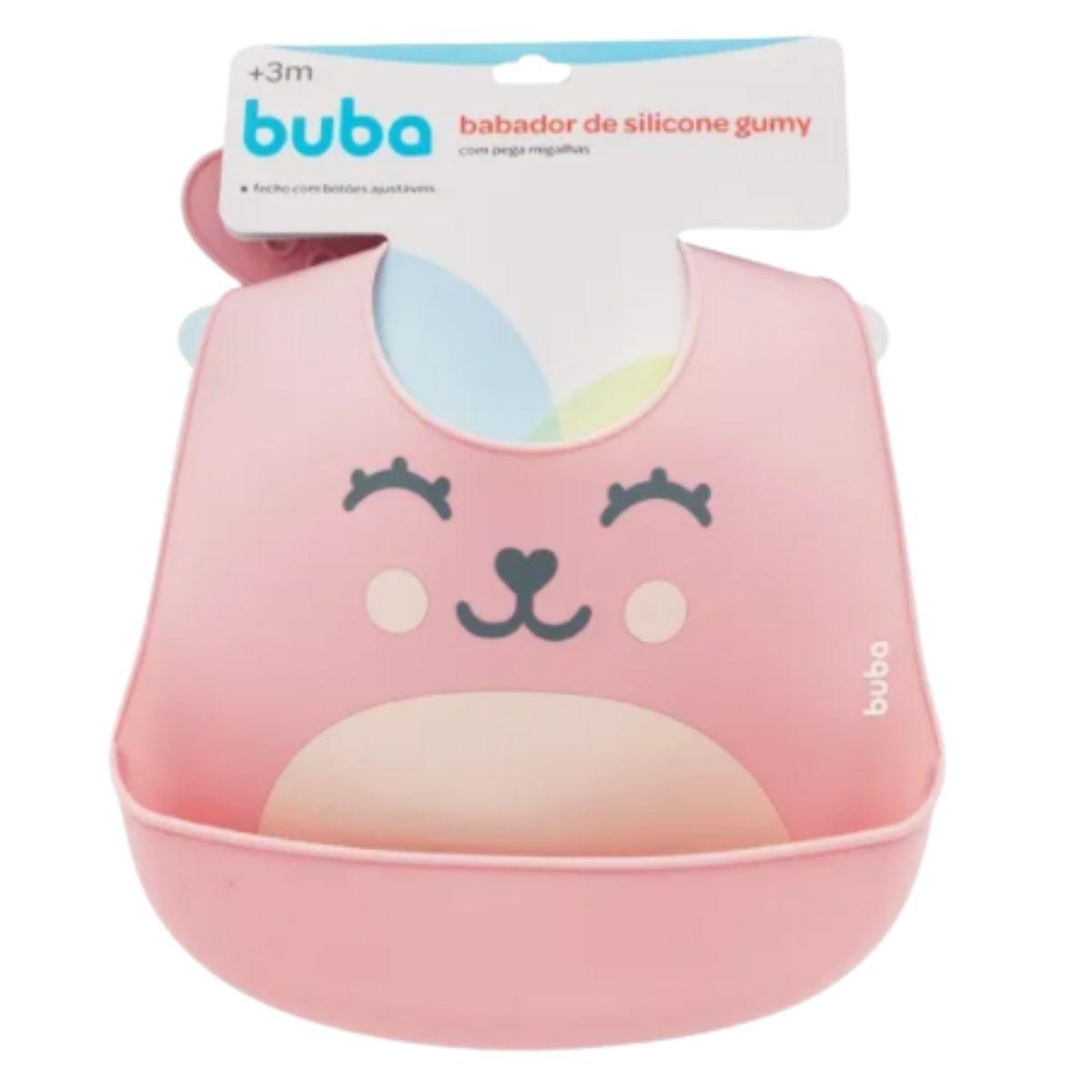 Babador De Silicone Bebê Impermeável Blw Migalhas Rosa Gumy