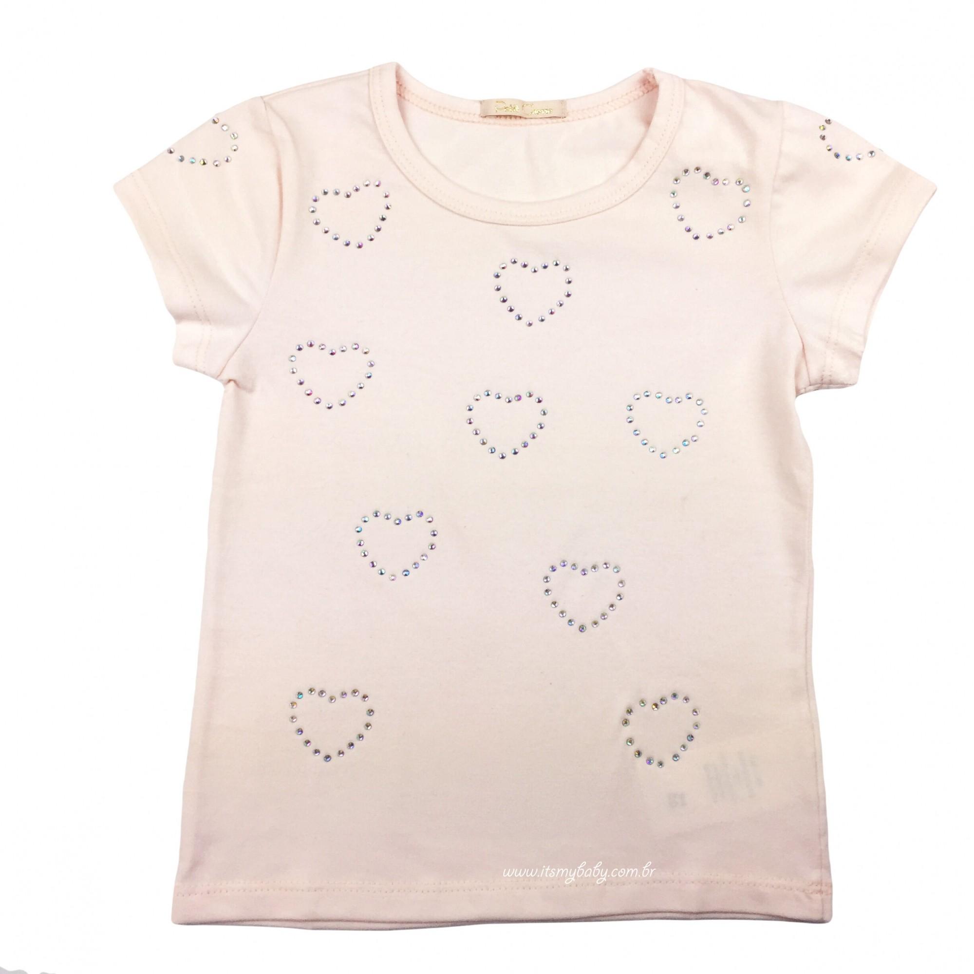 Blusa Manga Curta Rosa com Termocolante Petit Cherie
