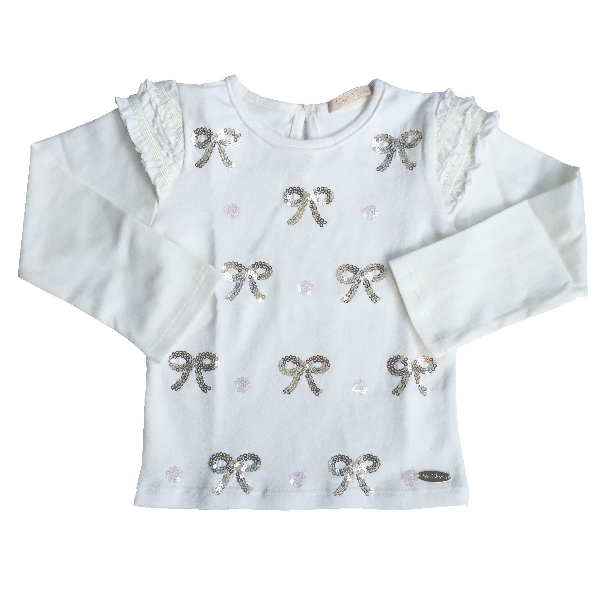 Blusa Manga Longa Bordado Laços Branca com Fru Fru Petit Cherie