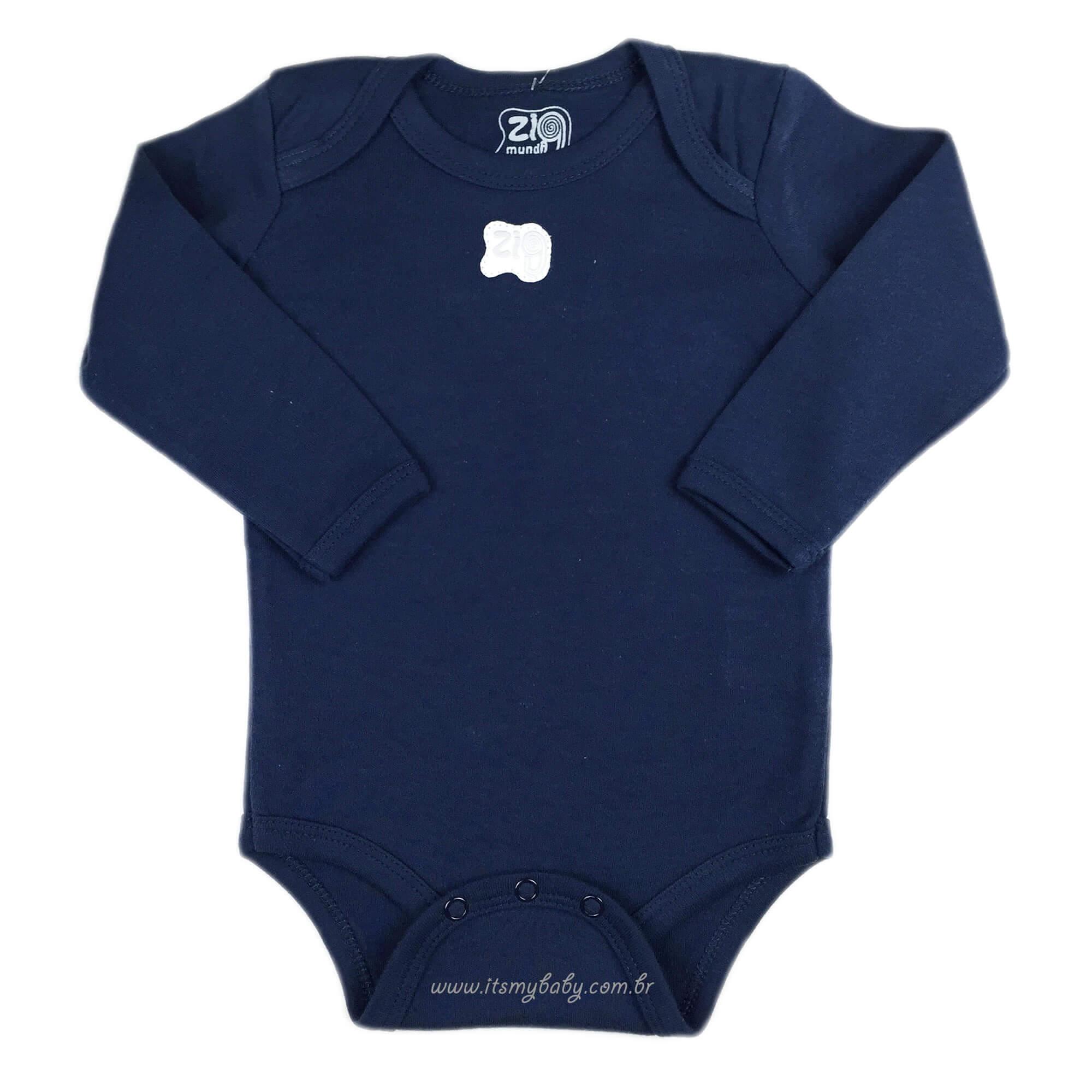 Body Manga Longa Bebê Menino Azul Marinho Zig Mundi