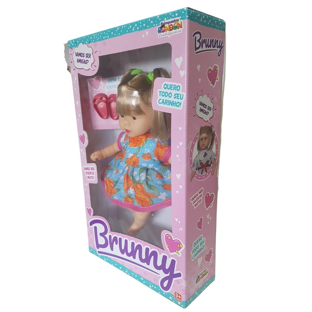 Boneca Em Vinil Macio C/ Cabelo Comprido Brunny+ Sapatinhos