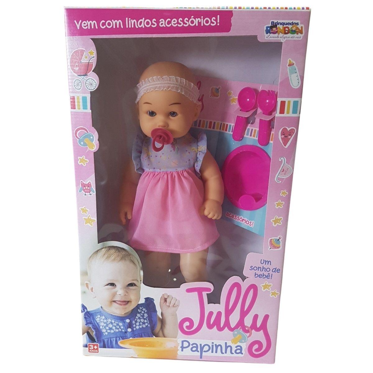 Boneca Bebê Menina Jully Papinha Com Acessórios