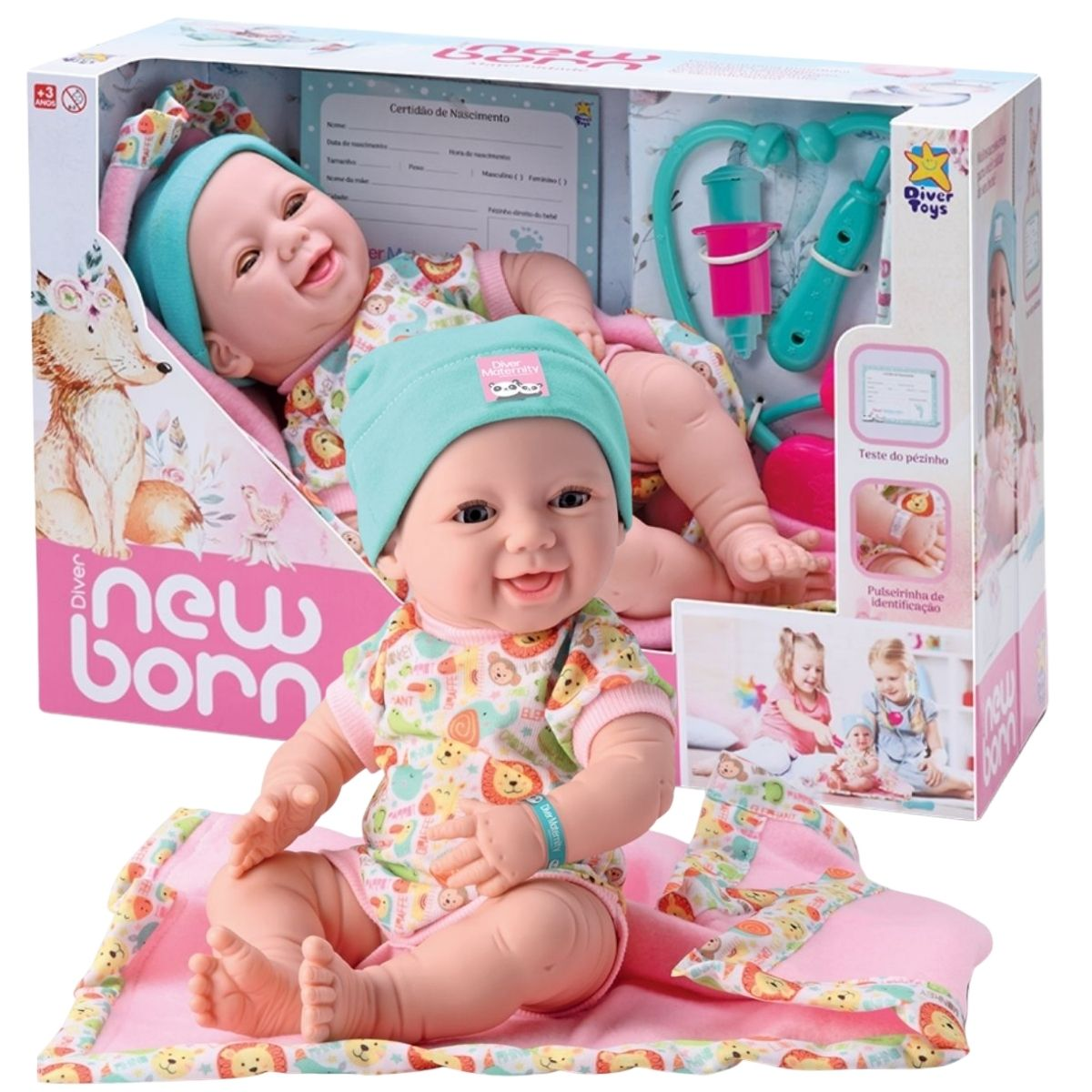 Boneca Bebe New Born Reborn Maternidade Abre E Fecha Olhos Divertoys