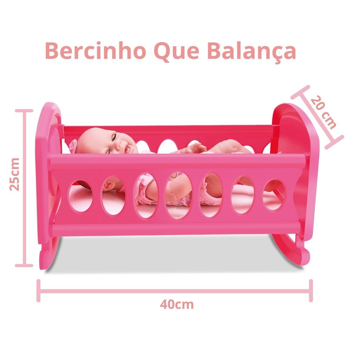 Boneca Bebê New Born Bercinho Fecha Os Olhinhos Divertoys