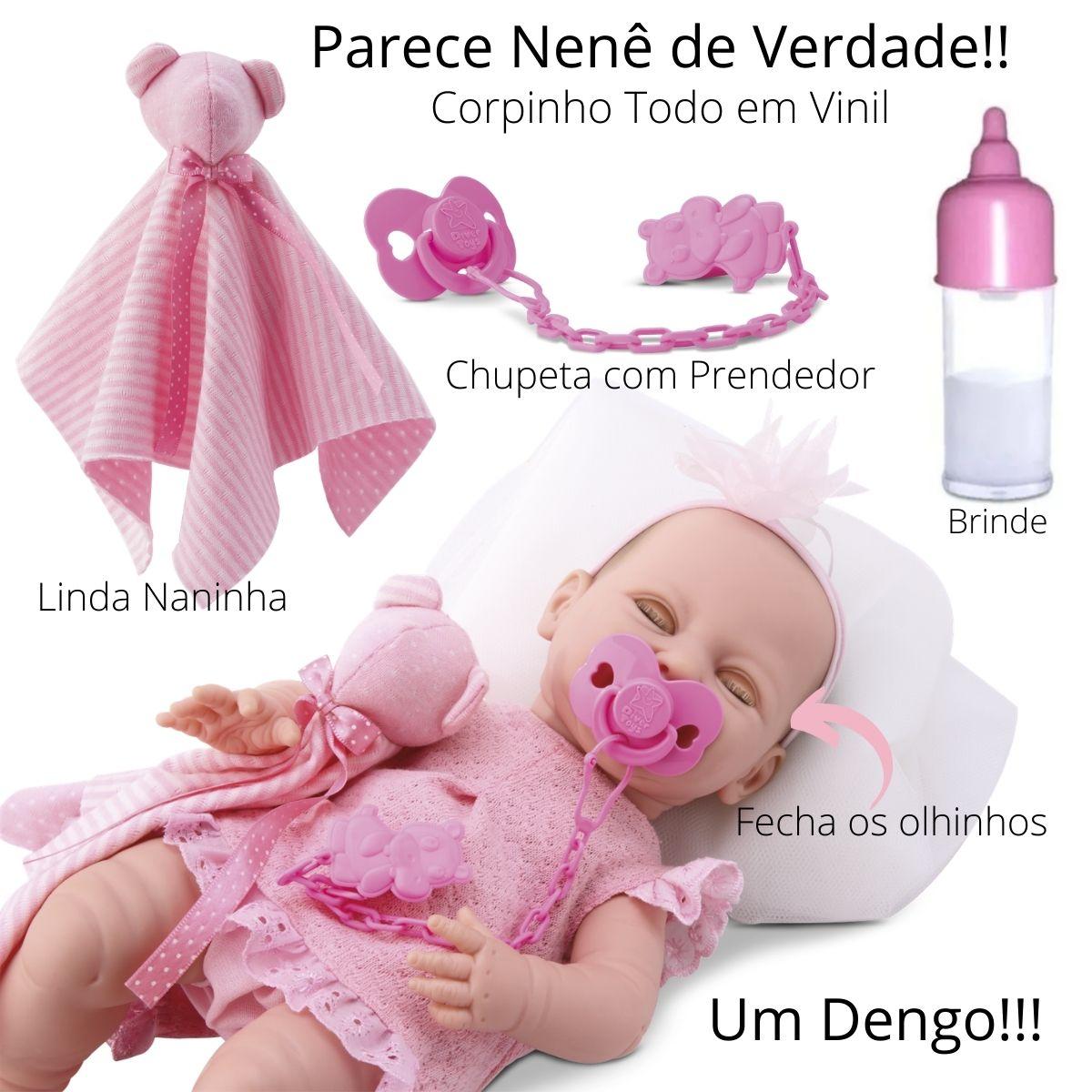 Boneca Bebê Estilo Reborn Fecha os Olhinhos Dengo