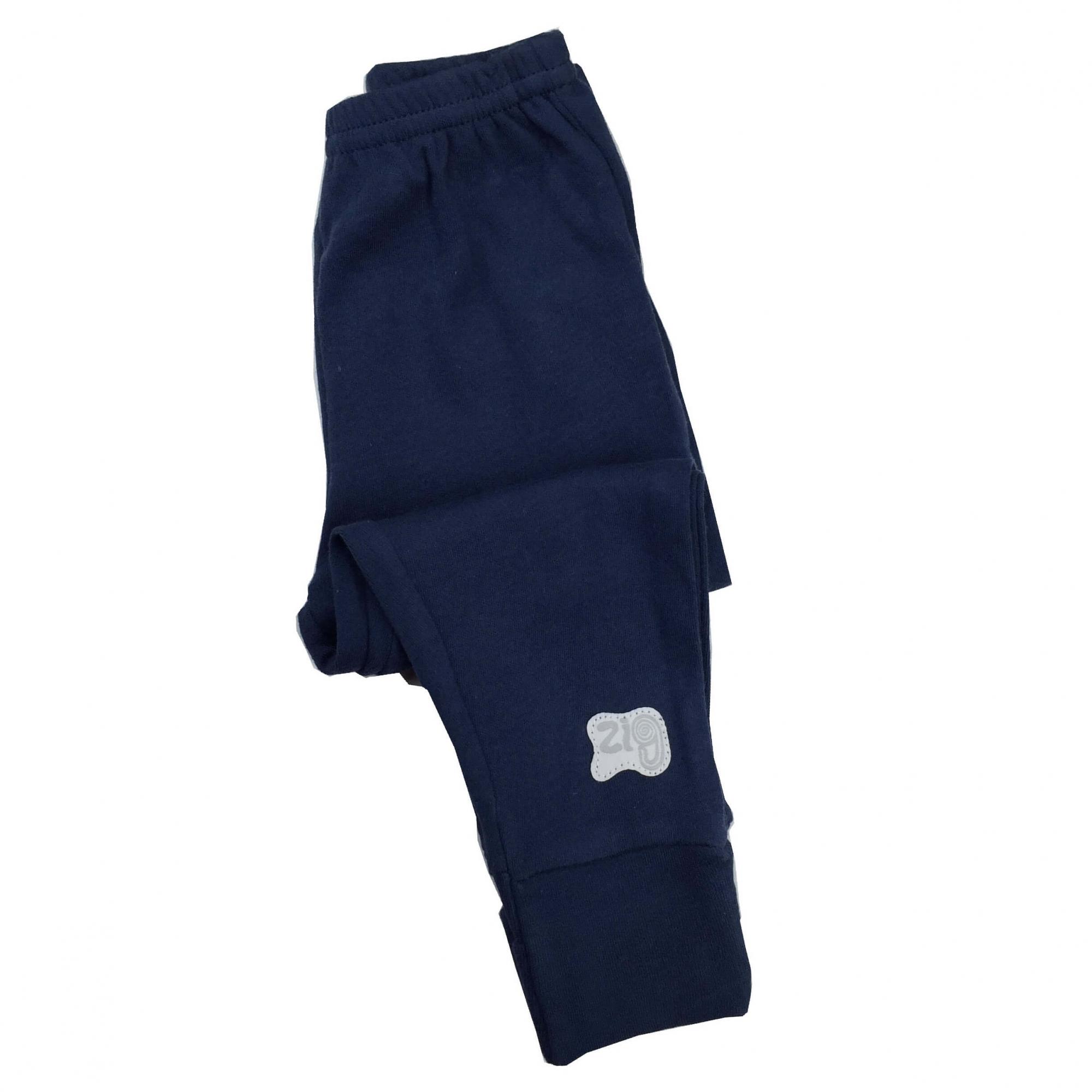 Calça Culote em malha com elástico na cintura Azul Marinho Zig Mundi
