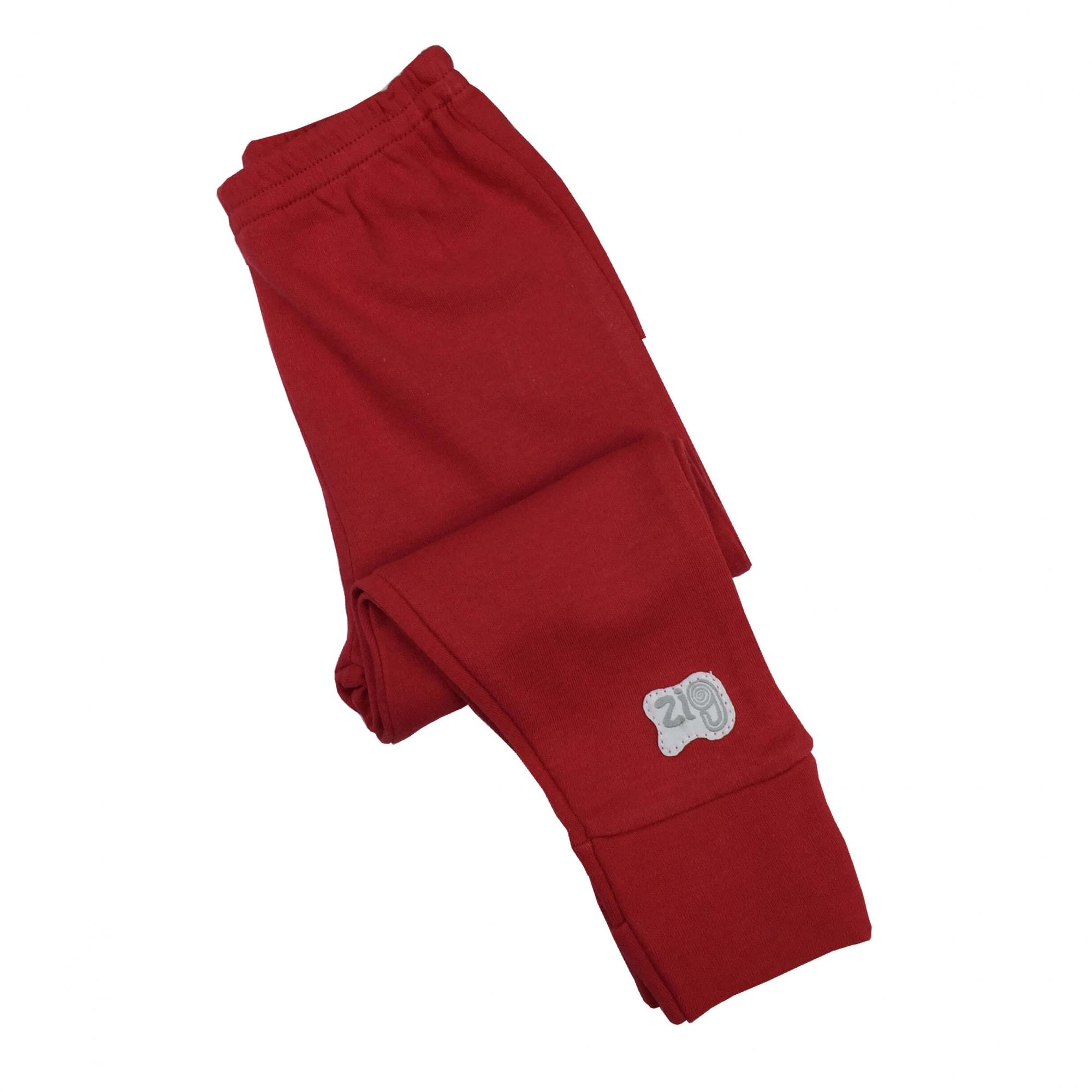 Calça Culote Malha Vermelho com Pé Reversível Zig Mundi