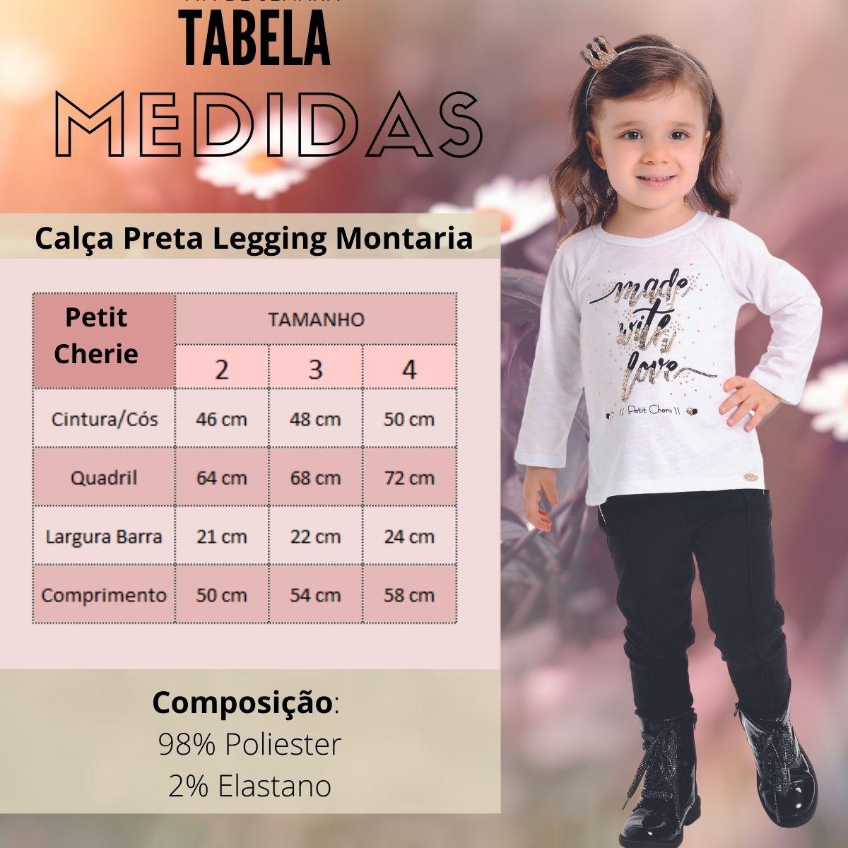 Calça Preta Legging Montaria Infantil Com Elastano Petit Cherie