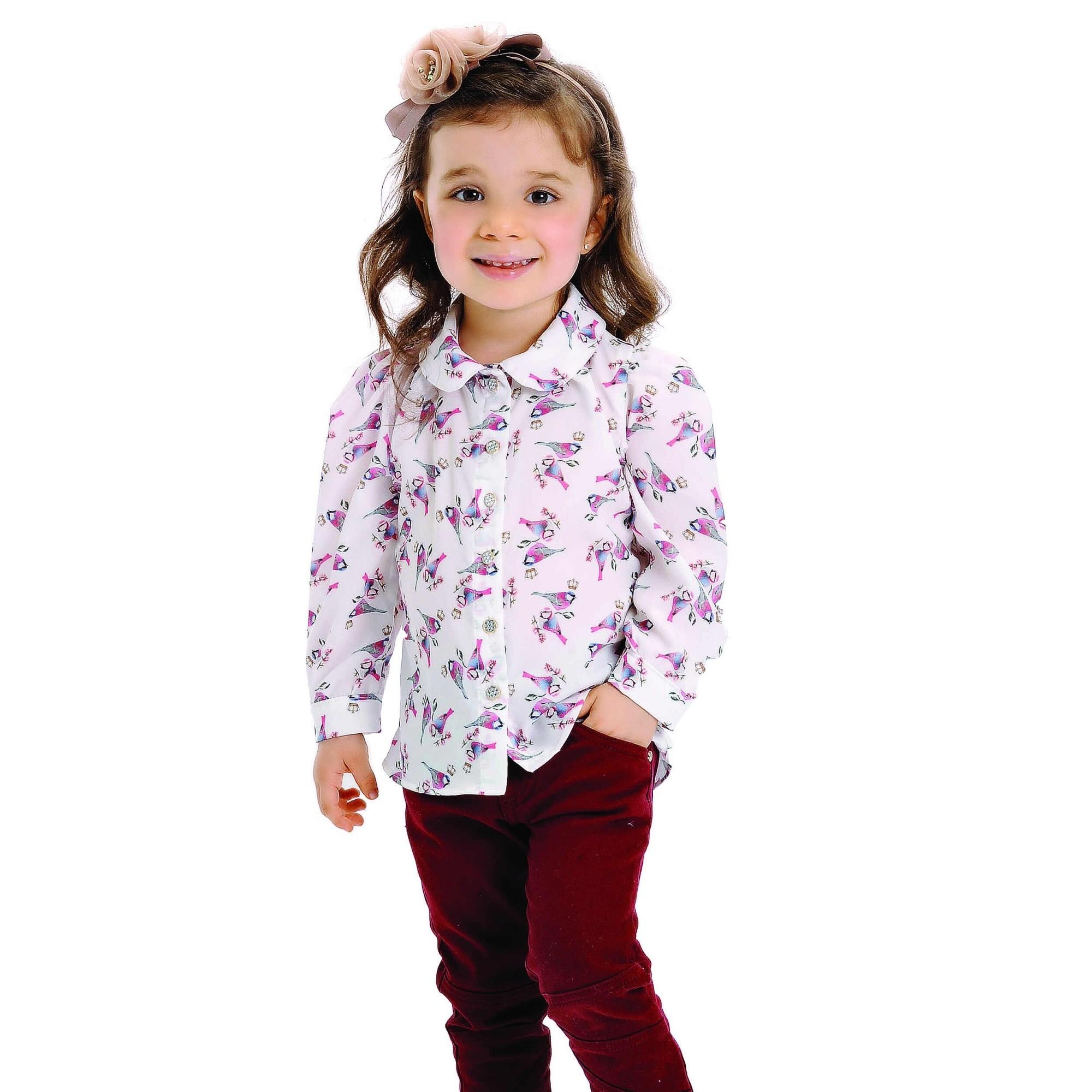 Camisa Infantil de Seda Passarinho Petit Cherie