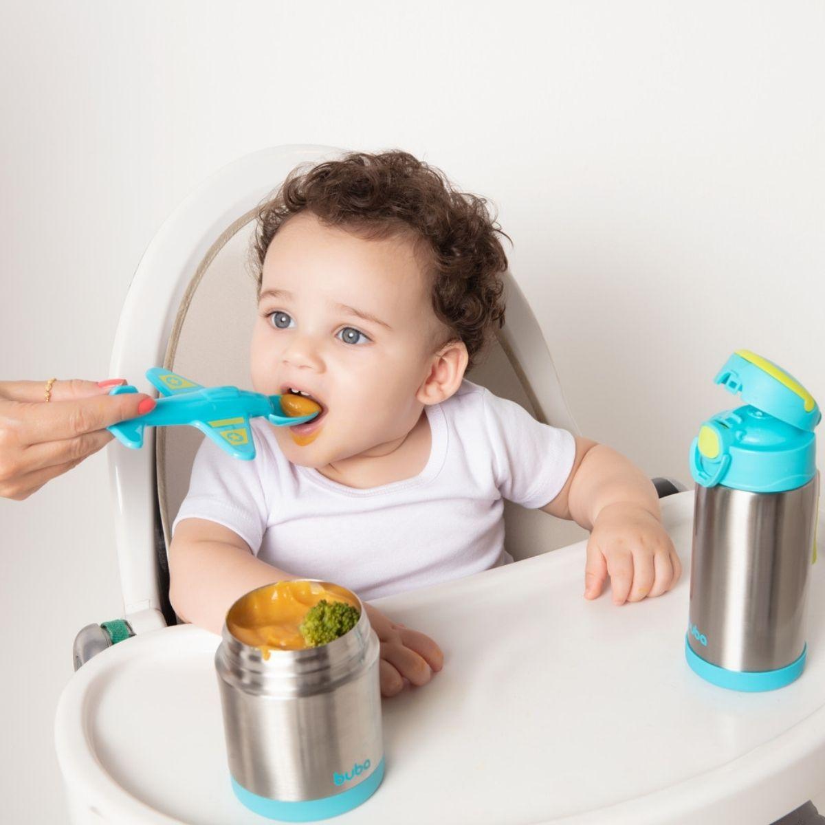 Colher Aviãozinho Azul Para Introdução Alimentar Buba