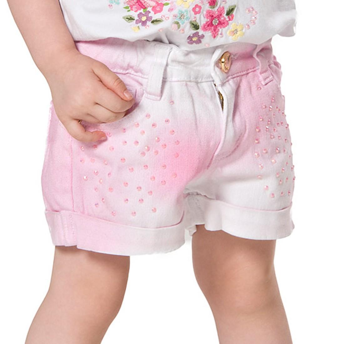 Conjunto Blusa com Bordado e Shorts Sarja