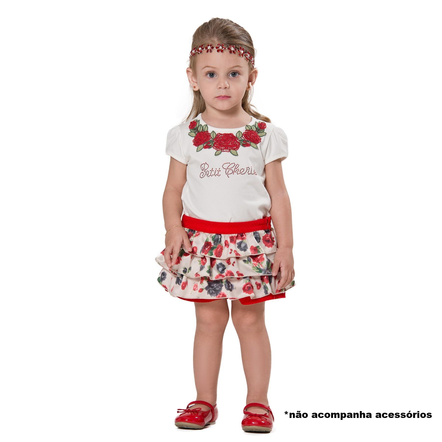 Conjunto Blusa Guipir Rosas e Shorts Babados