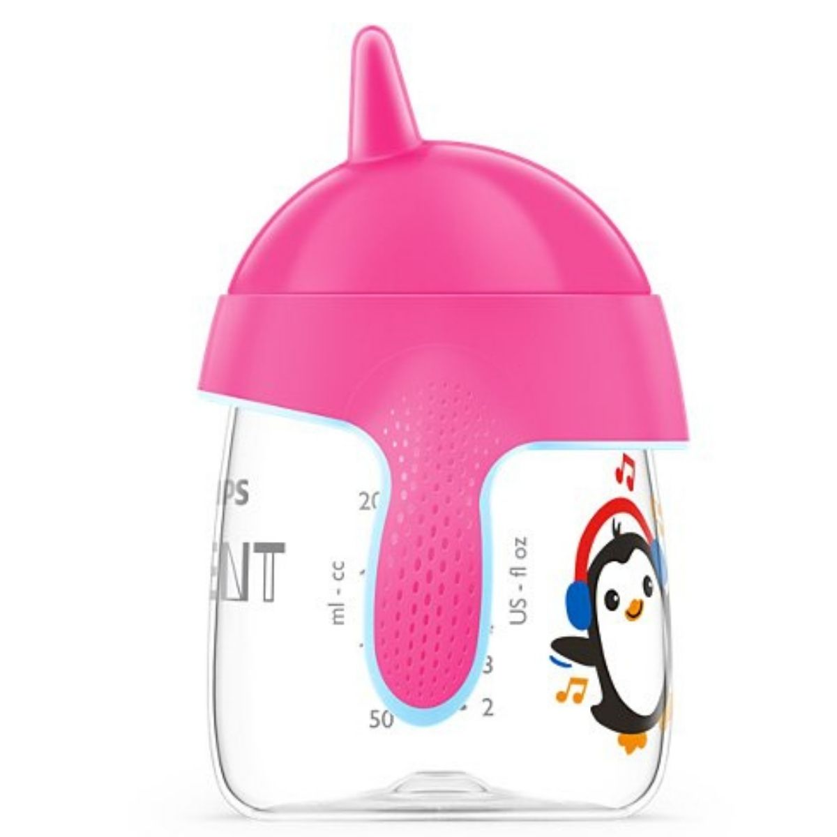 Copo De Treinamento Avent Pinguim 260ml Antivazamento Bico Rígido Rosa