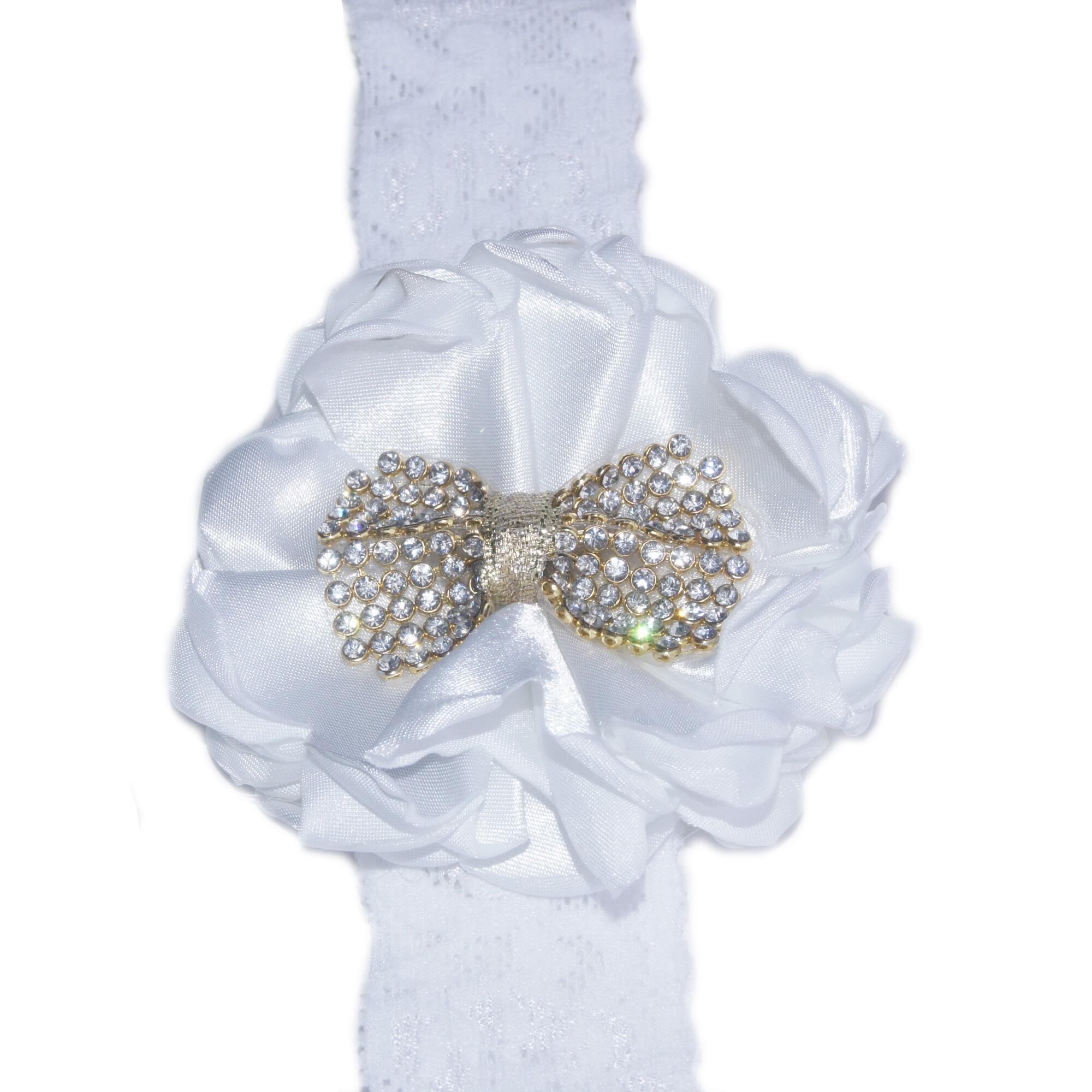 Faixa Renda Branca com Flor Branca e Laço Dourado