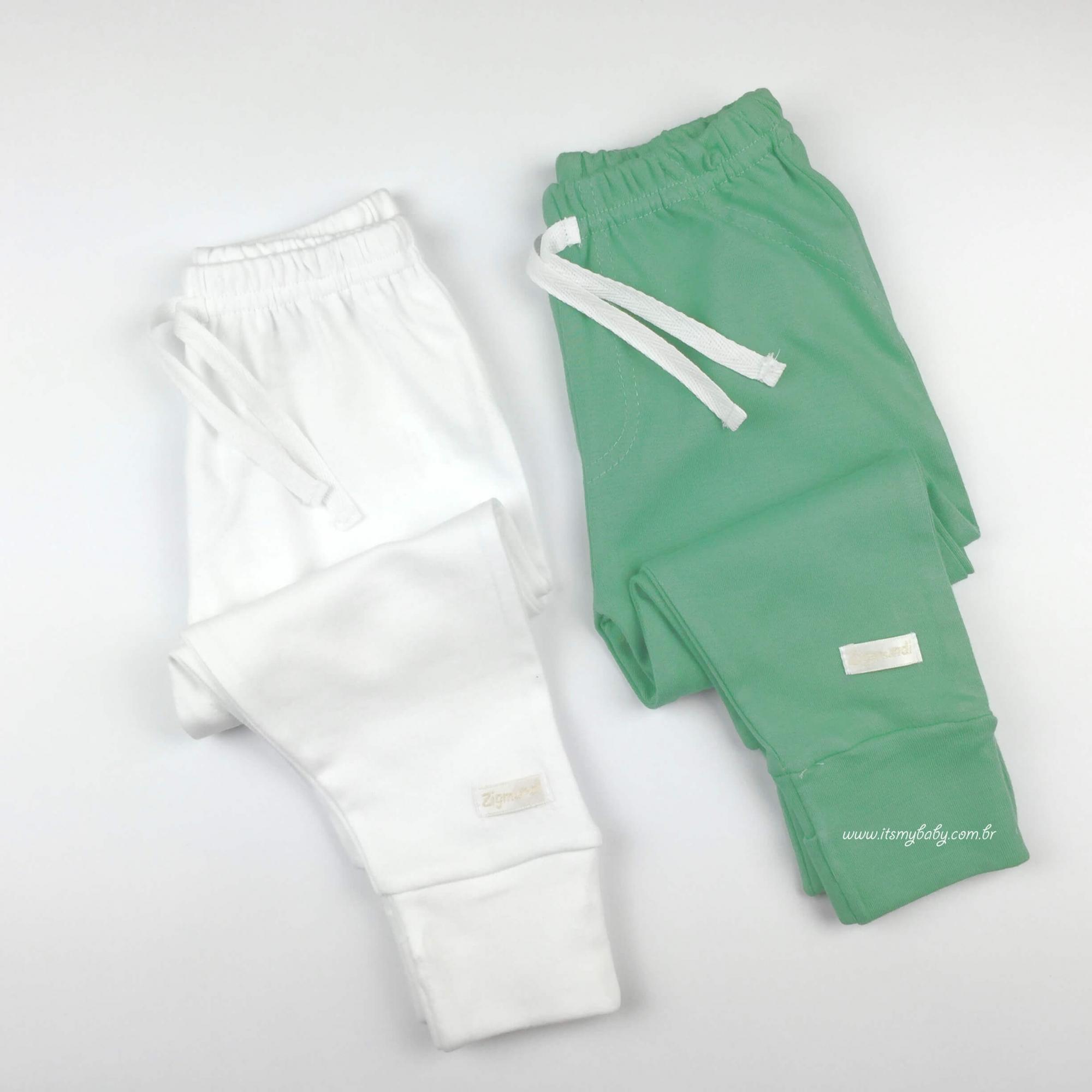 Kit 2 Calça Culote Verde E Branca em malha de algodão Zig Mundi