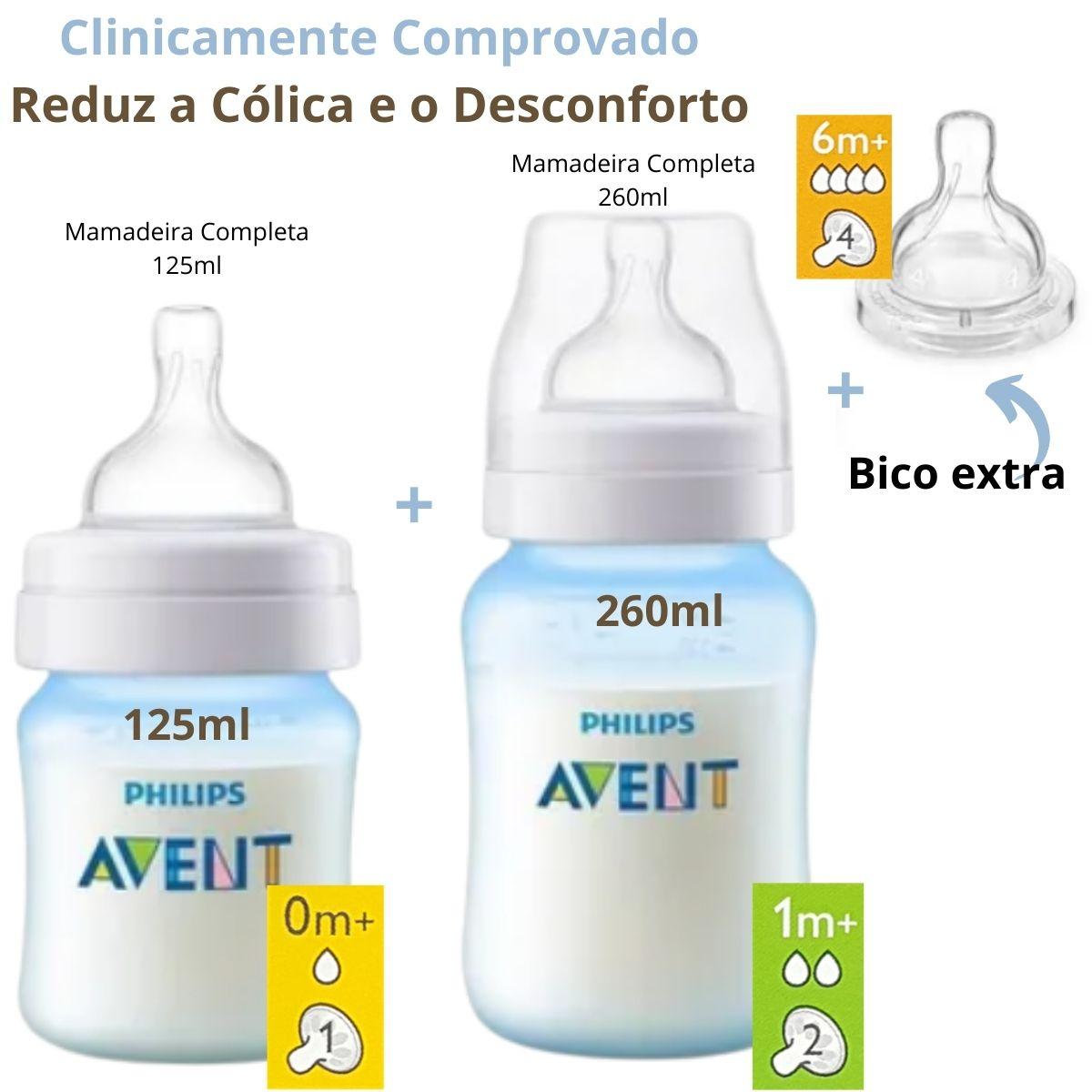 Kit 2 Mamadeiras Clássica Anticólica 125/260ml Azul +1 Bico Nº 4  Avent