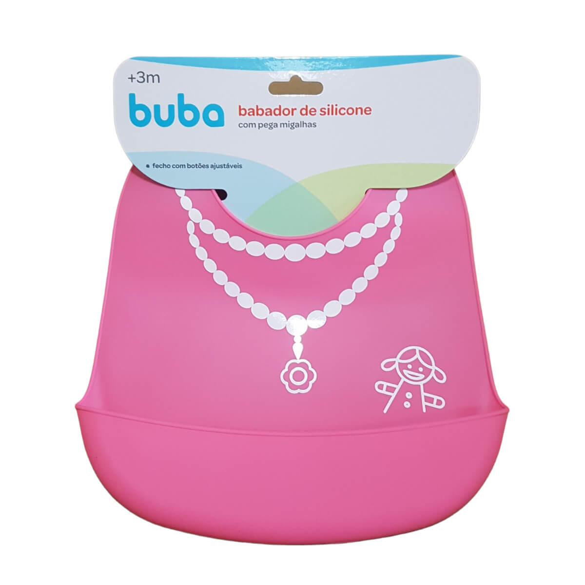 Kit Alimentação Bebê Babador E Colher Silicone BLW Rosa