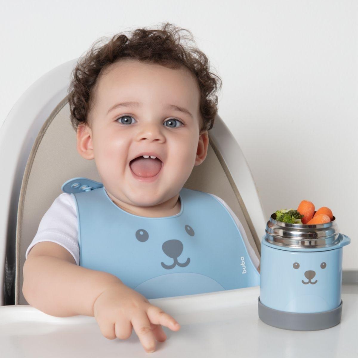 Kit Alimentação Bebê BLW Colher Treinamento Babador Silicone Azul