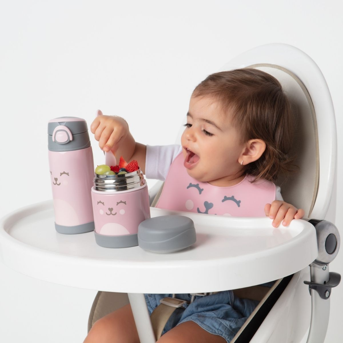Kit Alimentação Bebê BLW Colher Treinamento Babador Silicone Rosa
