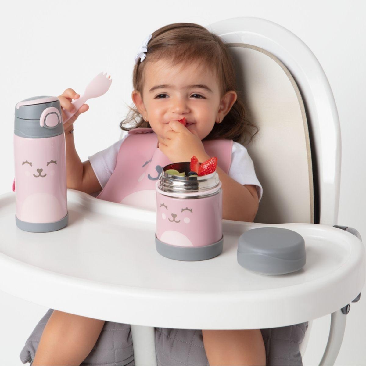 Kit Alimentação BLW Colher Silicone Bebê Babador Silicone Rosa Buba