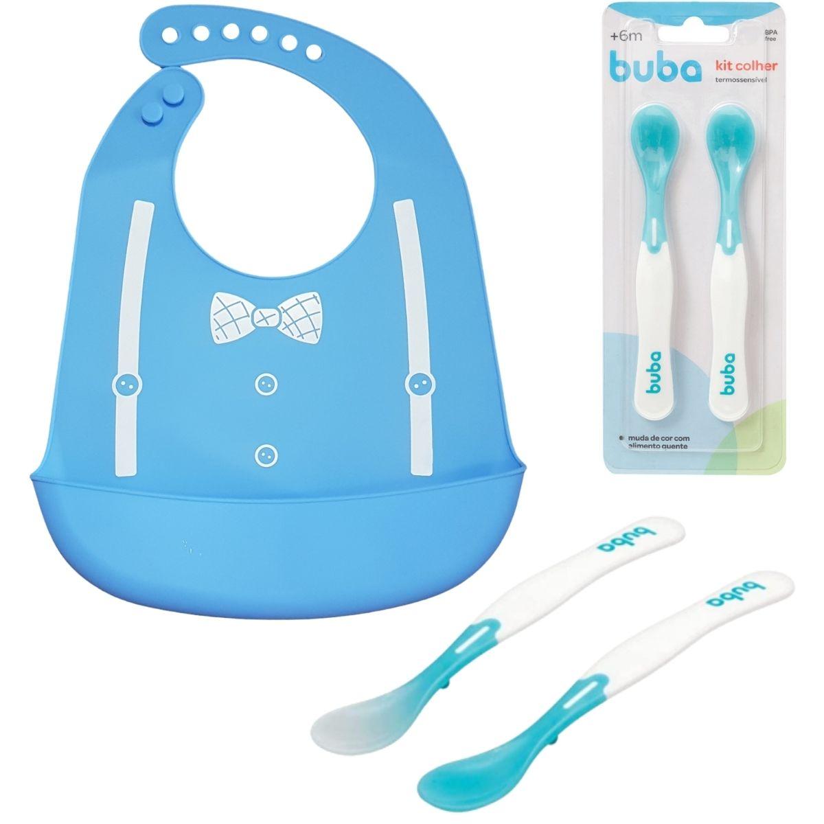 Kit BLW Babador Silicone E Colher Termossensível Bebê Azul