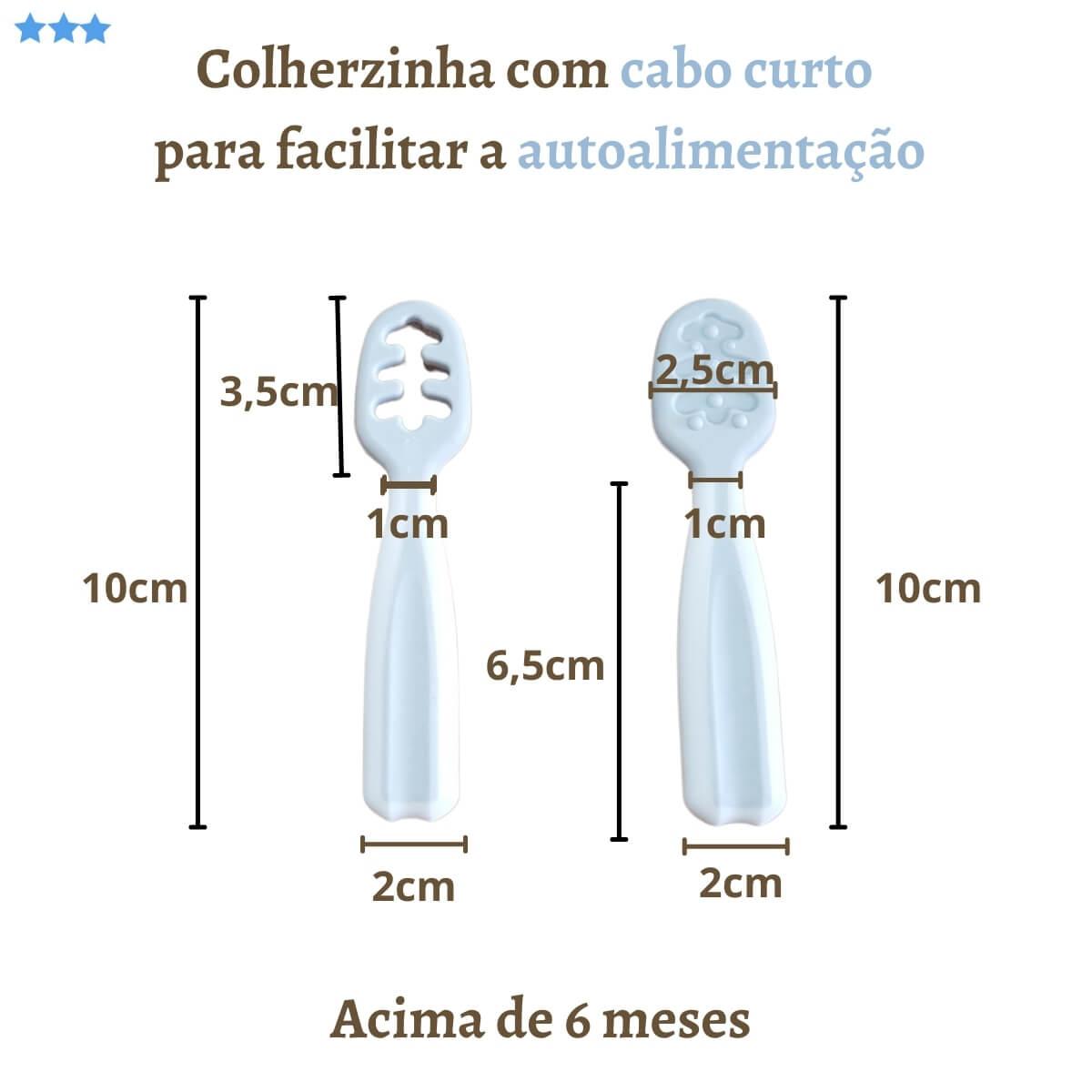 Colheres De Treinamento Autoalimentação Cinza+Azul Kit com 4
