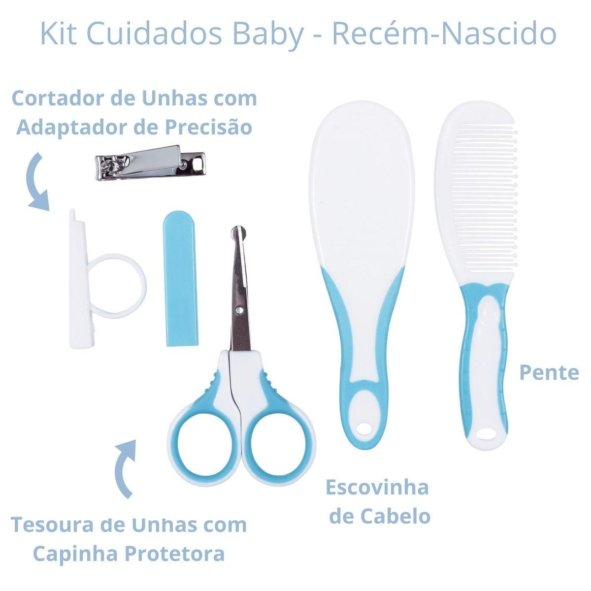 Kit Cuidados E Higiene Bebê Pente Escova Cortador De Unhas Azul Buba Baby