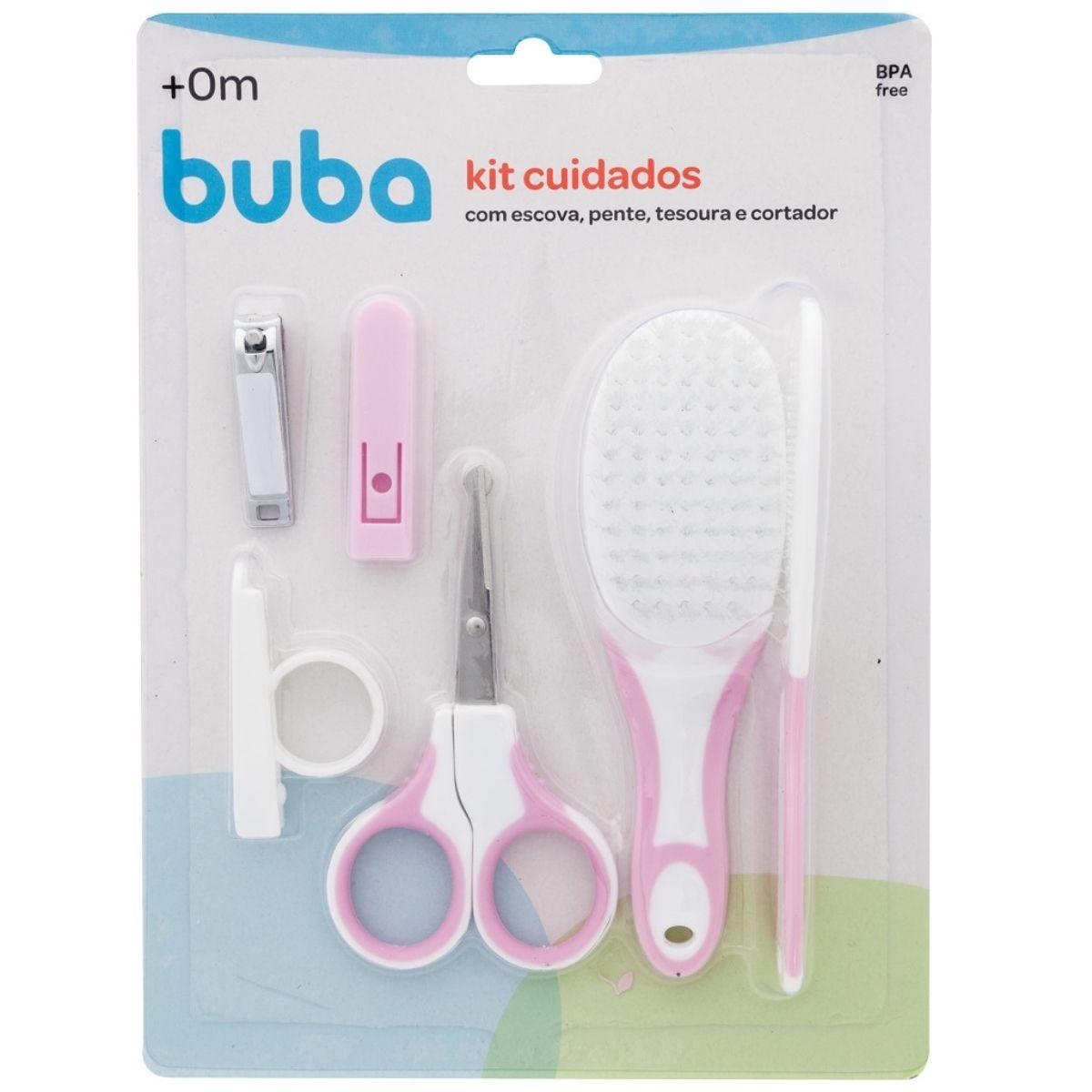 Kit De Higiene Bebê Pente Escova Cortador De Unhas Rosa Buba Baby