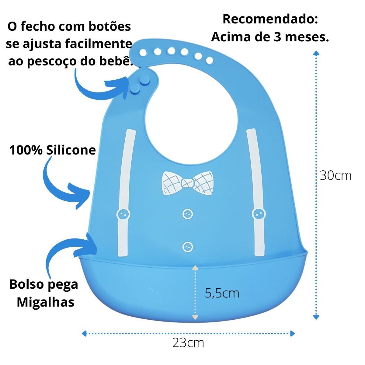 Kit Introdução Alimentar Babador de Silicone e Colheres de Silicone Azul