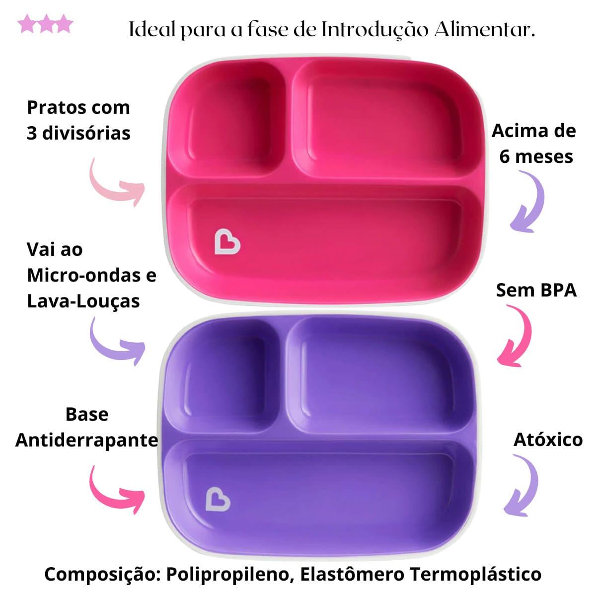 Kit Introdução Alimentar Pratos e Colheres Coloridas Munchkin