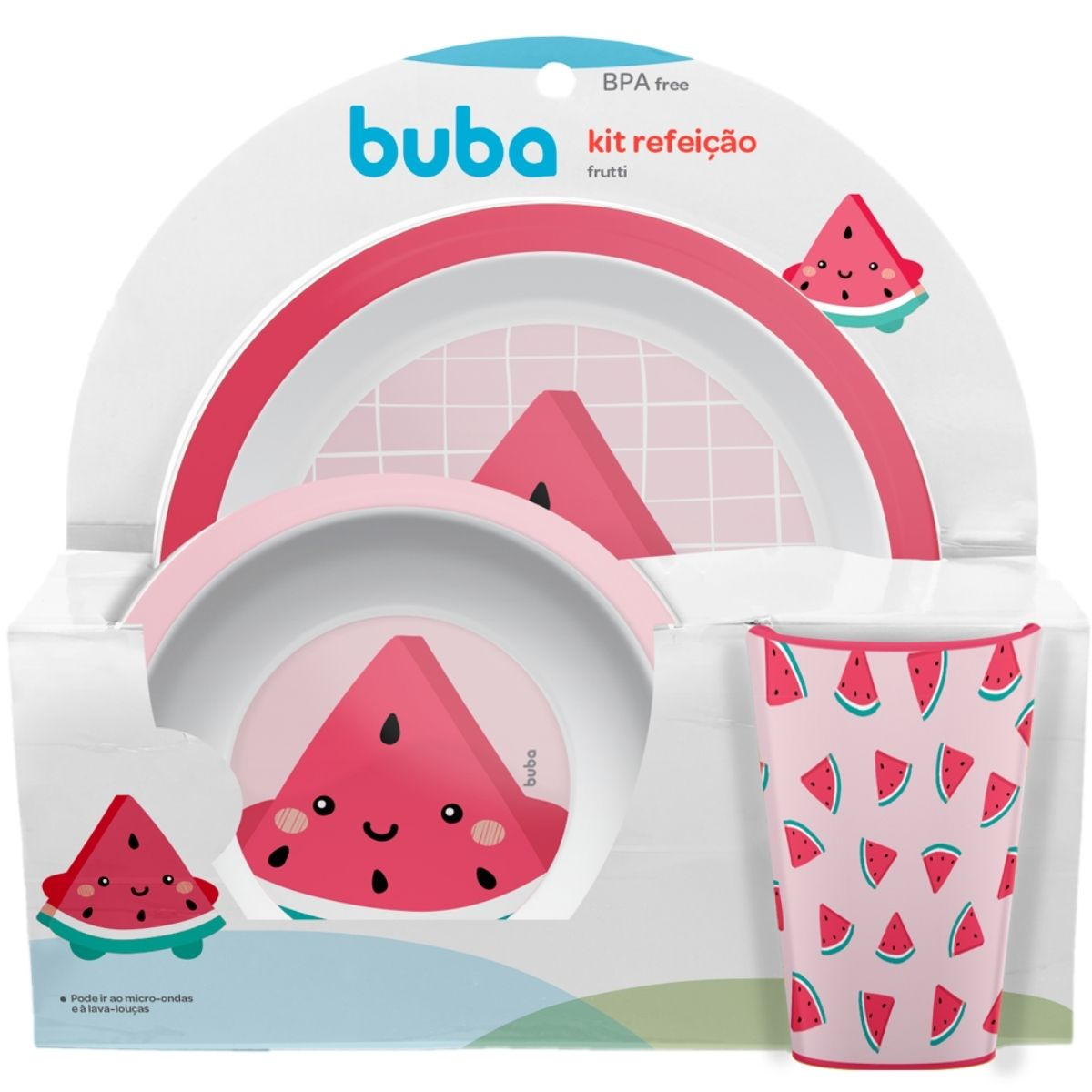 Kit Refeição Frutti Melancia Prato Tigela Copo Rosa Buba