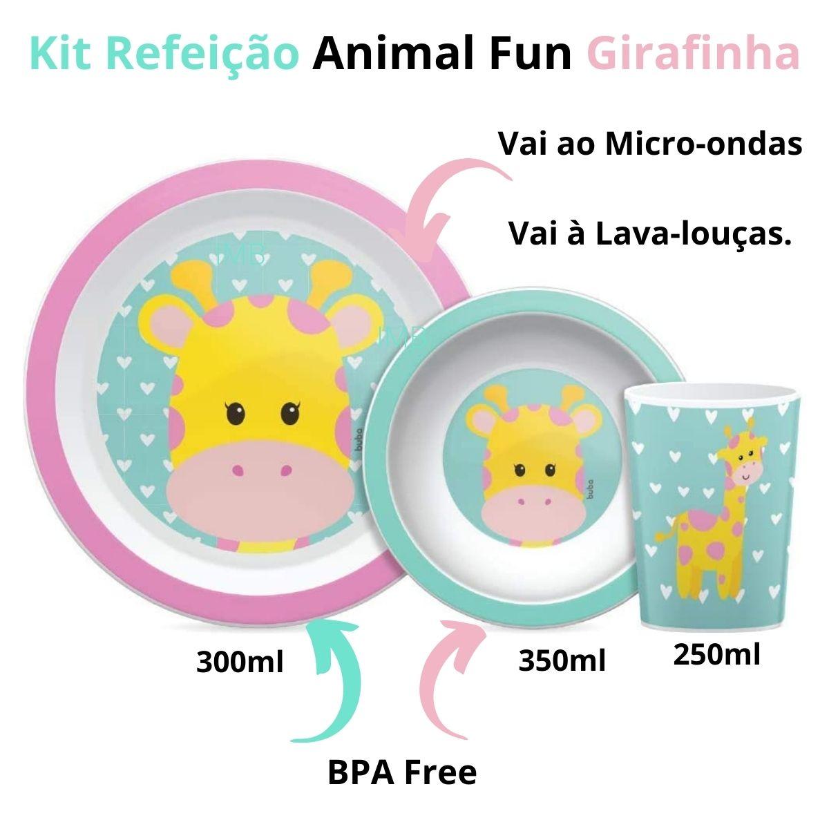Kit Refeição Animal Fun Girafa Prato Tigela Copo Menina Buba