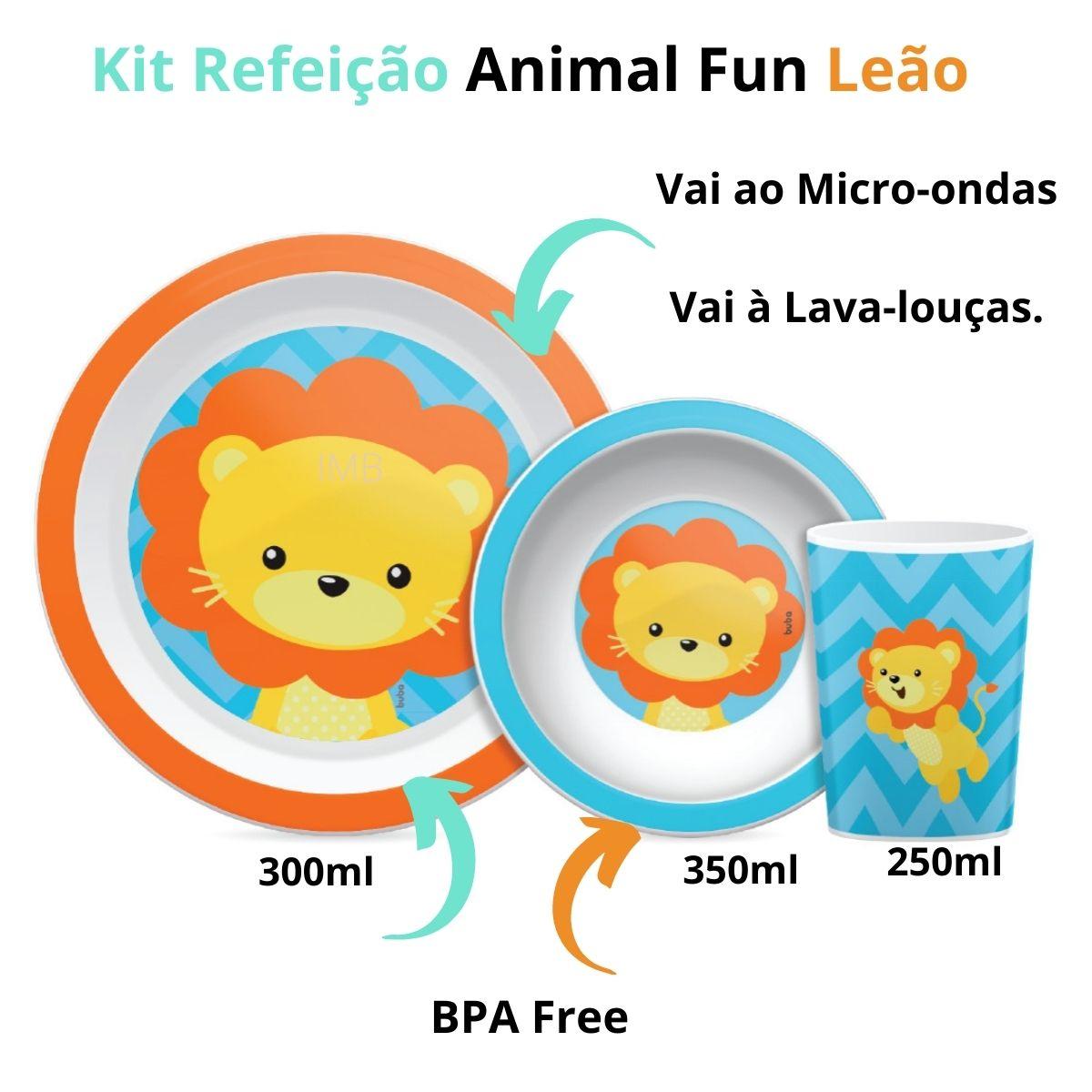 Kit Refeição Animal Fun Leão Prato Tigela Copo Buba Menino
