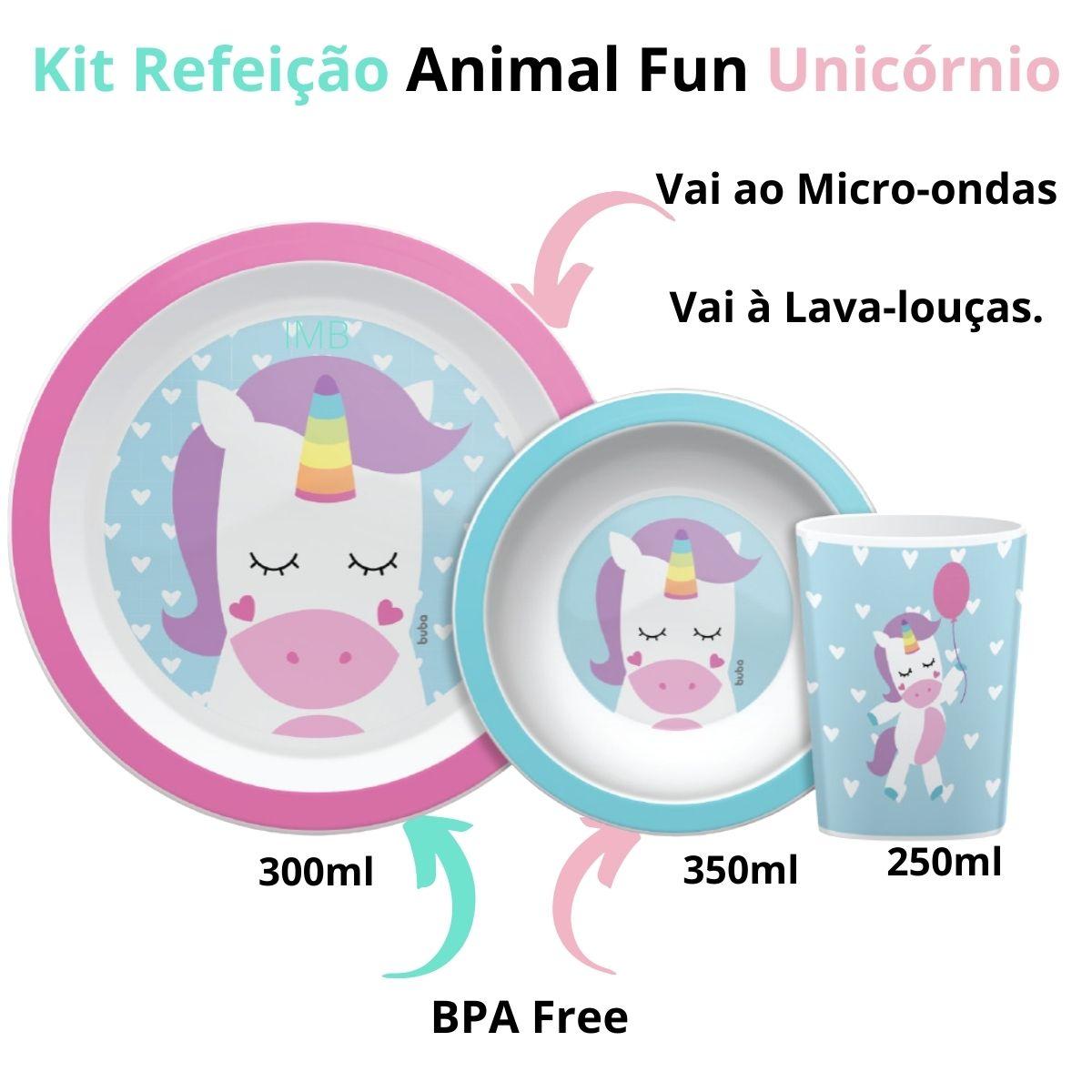 Kit Refeição Animal Fun Unicórnio Prato Tigela Copo Rosa Buba