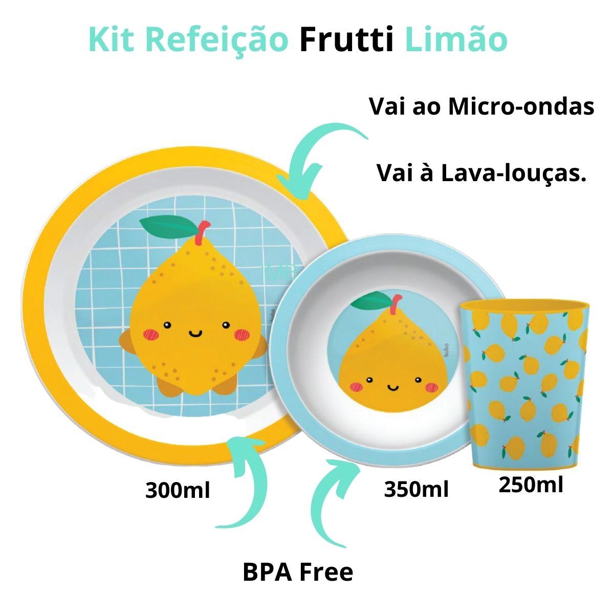 Kit Refeição Frutti Limão Prato Tigela Copo Buba