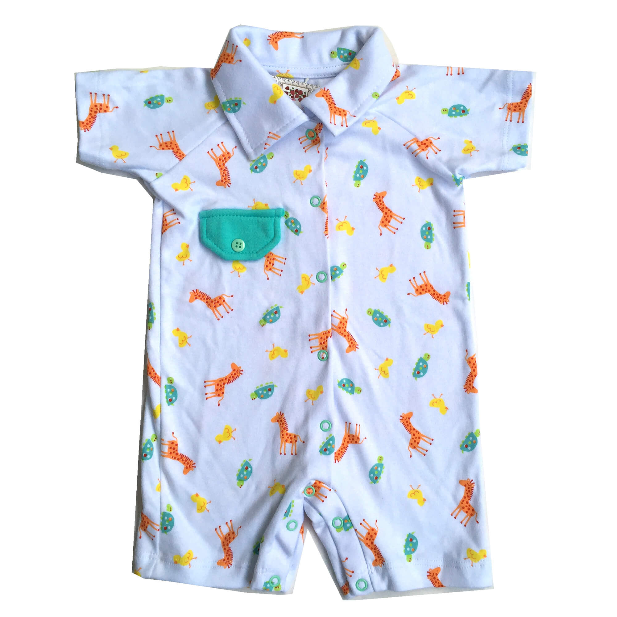 Macacão Curto Manga Curta Bebê Menino Girafinhas Coloridas Pirlipat
