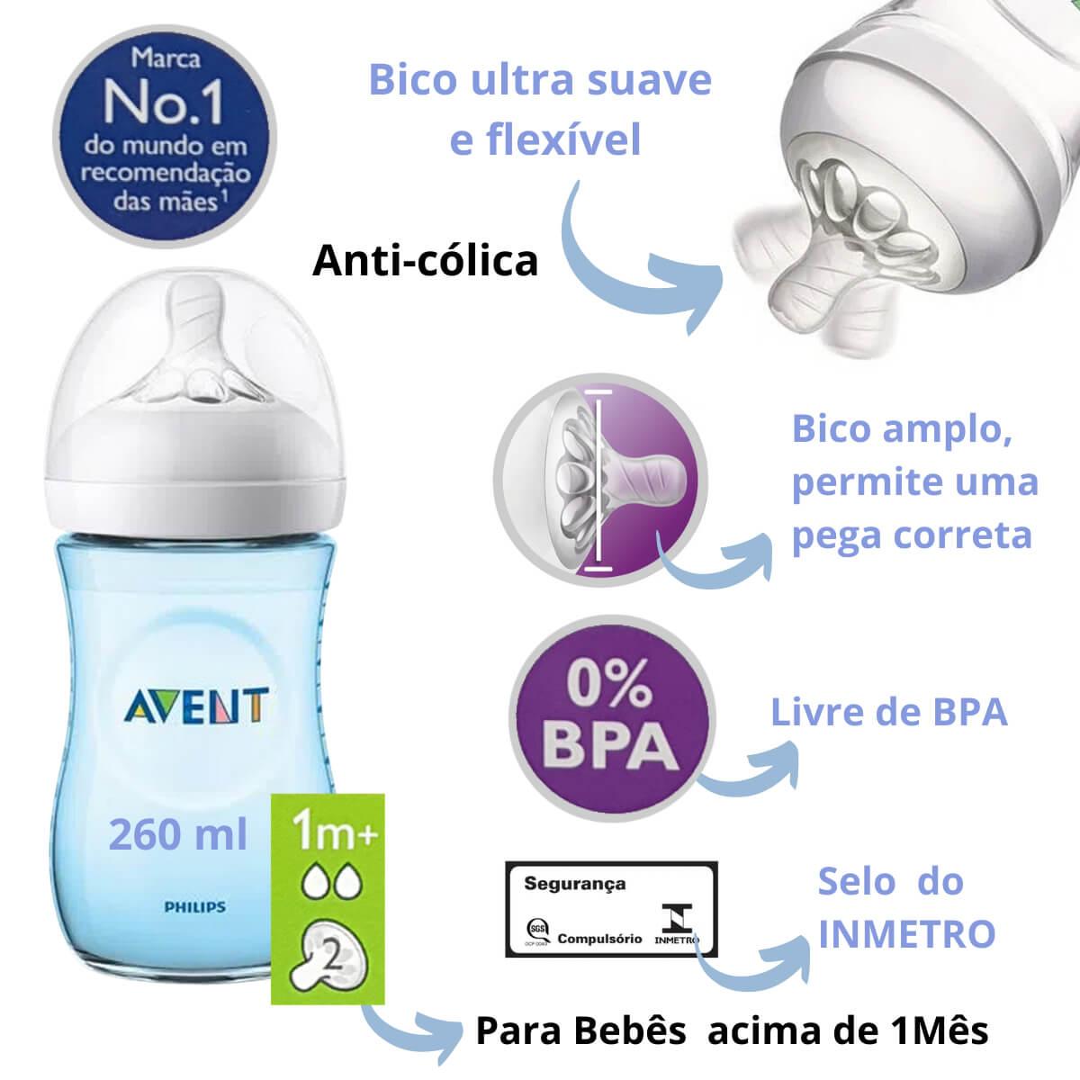 Mamadeira Anti-cólica Avent Pétala Kit Com 2 (260/330ml) Azul
