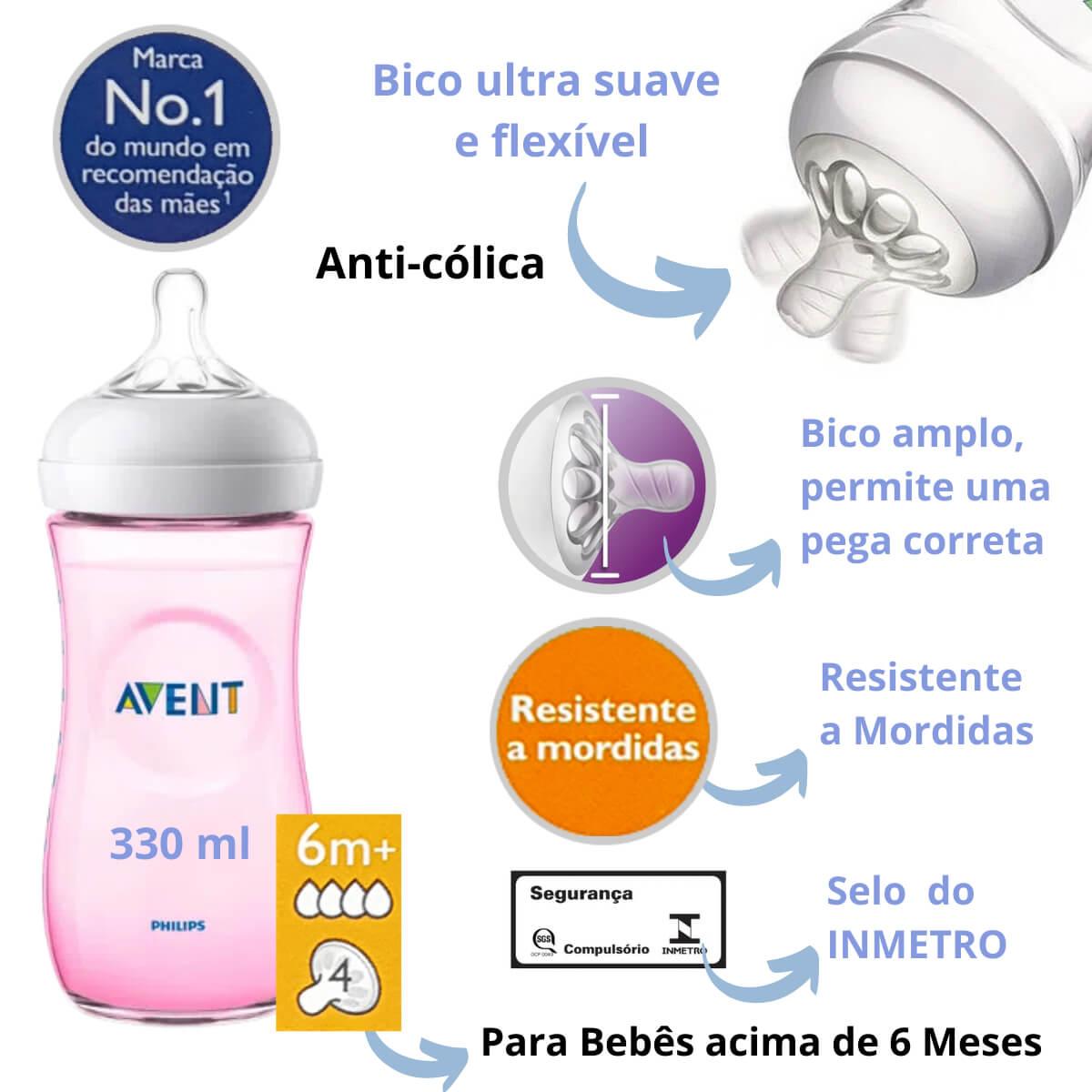 Mamadeira Anti-cólica Avent Pétala Kit Com 2 (260/330ml) Rosa
