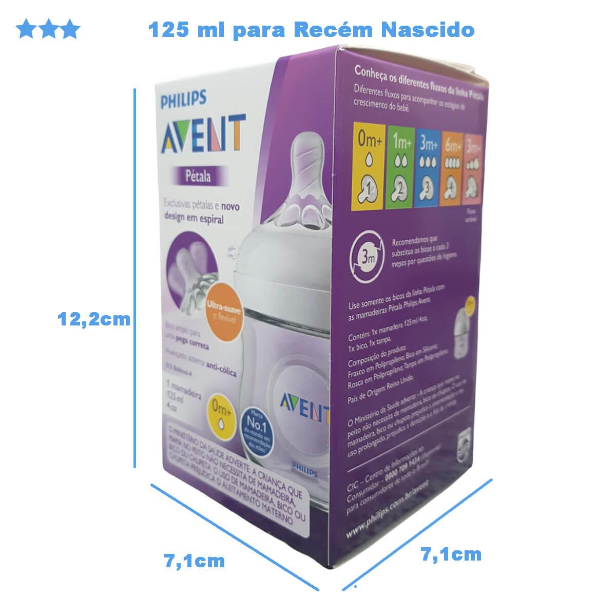Mamadeira Pétala Anti Cólica 125ml Transparente Philips Avent SCF030/17