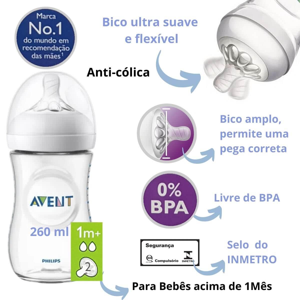Mamadeira Pétala Anti Cólica 260ml Transparente Philips Avent SCF033/17