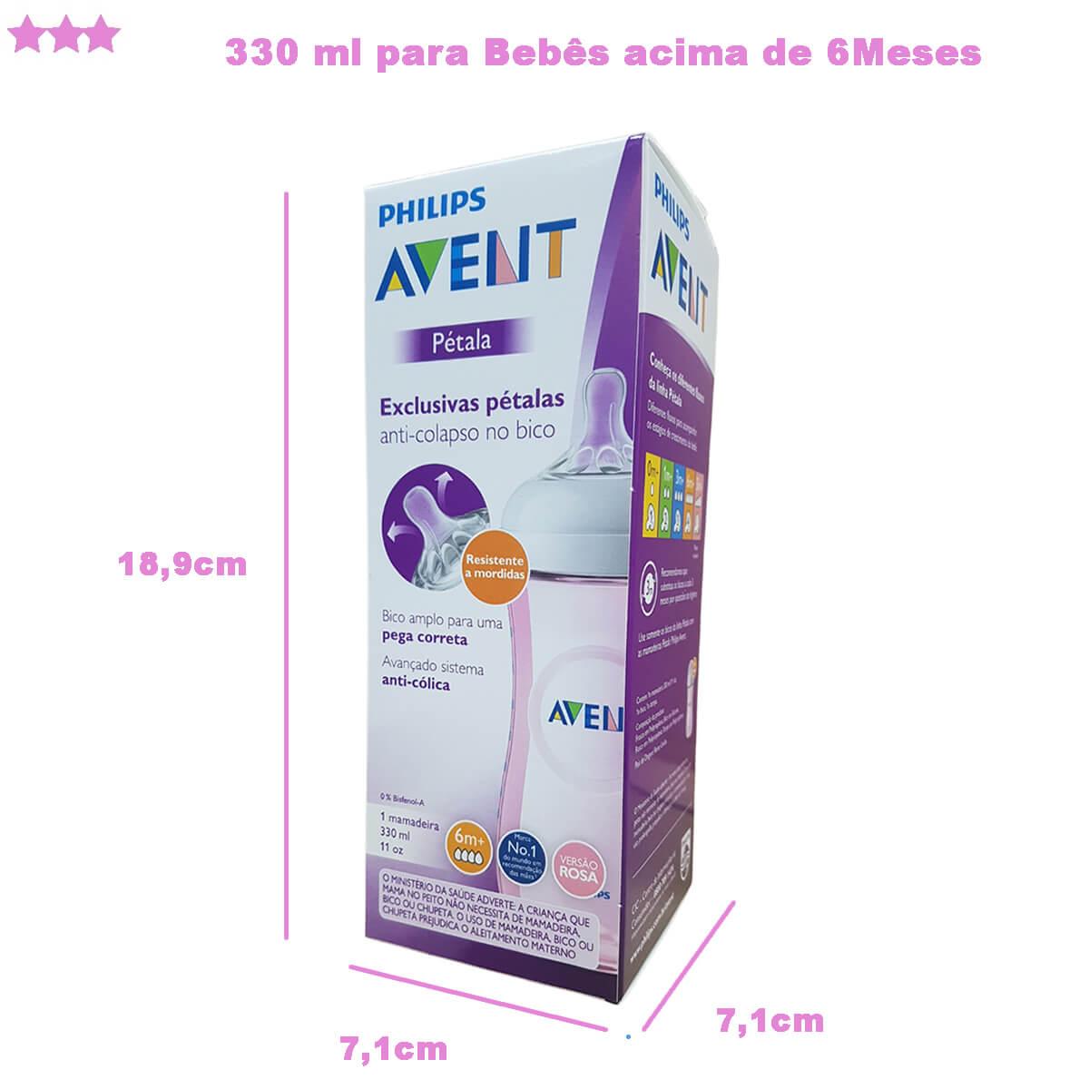 Mamadeira Pétala Anti Cólica 330ml Rosa Philips Avent SCF037/17