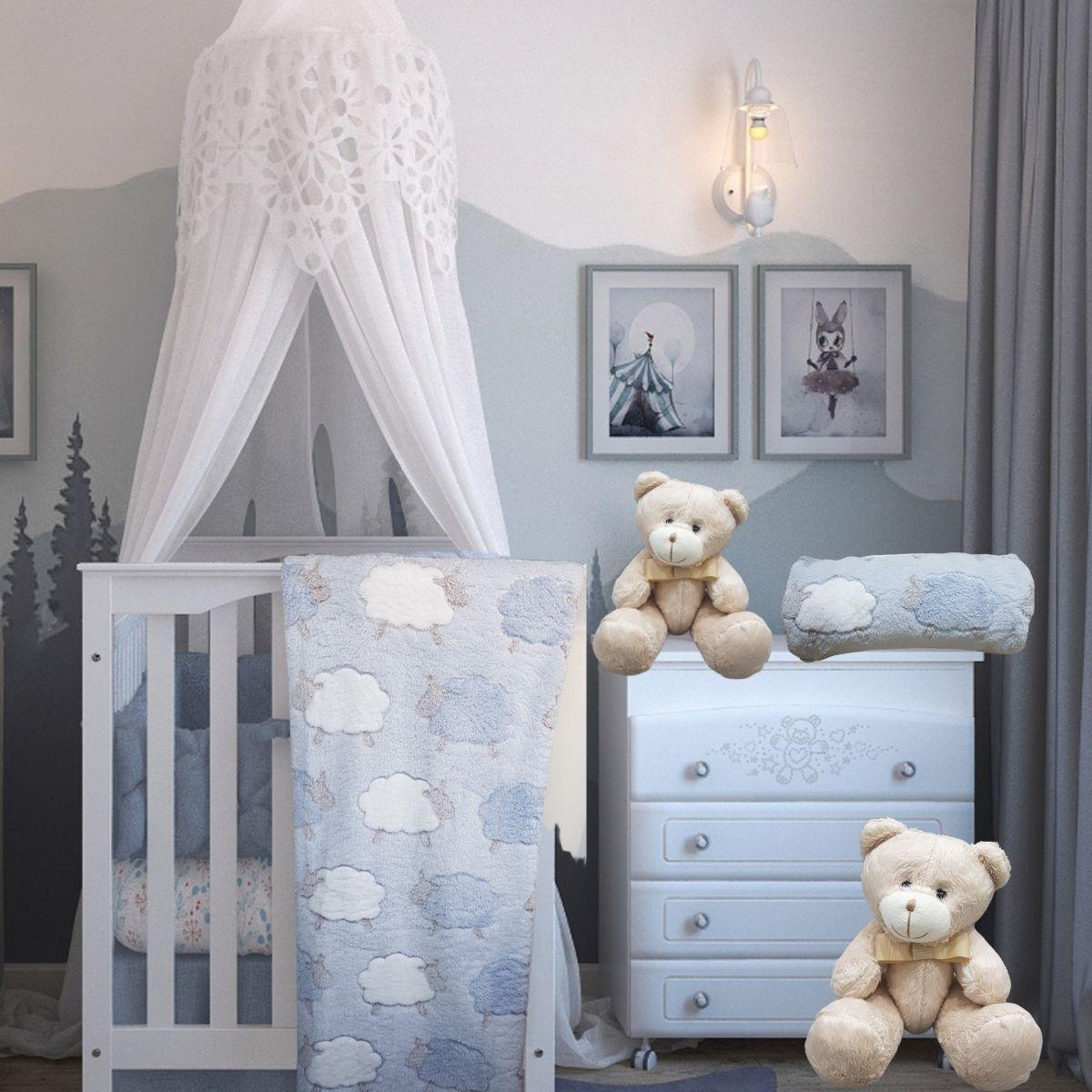 Manta De Bebê Mantinha Soft Anti-alérgica Ovelhinha Azul
