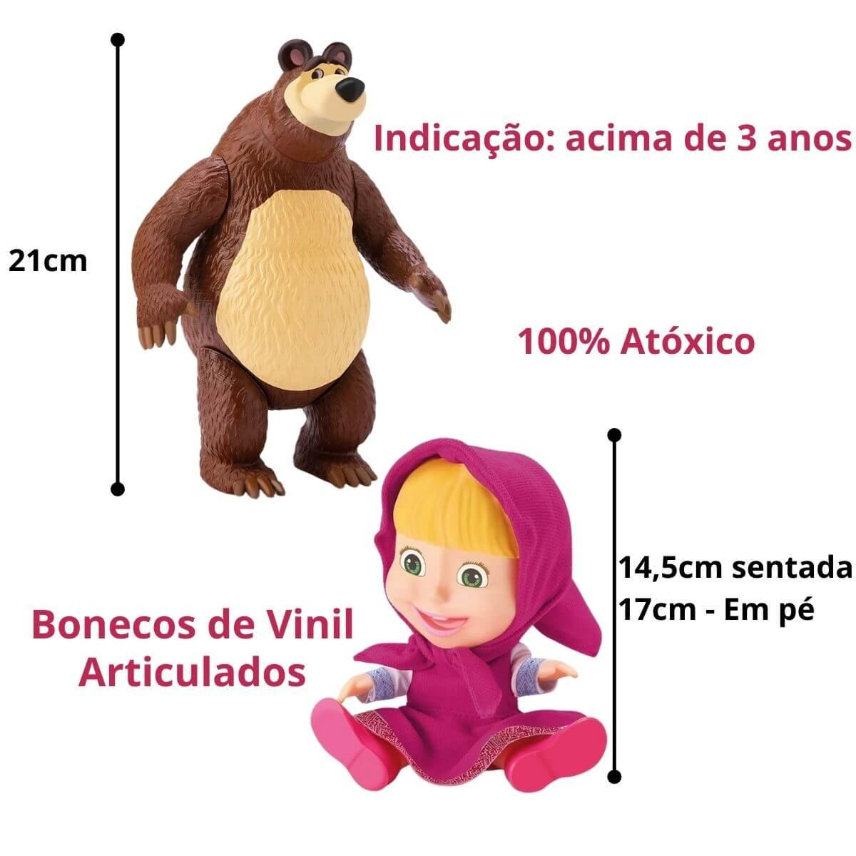Boneca Masha E O Urso Originais Em Vinil Macio E Articulado Divertoys