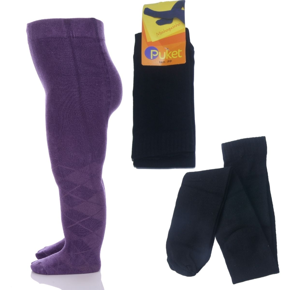Meia Calça Infantil Grossa Legging Fio 80 Baby Lisa Preta Puket