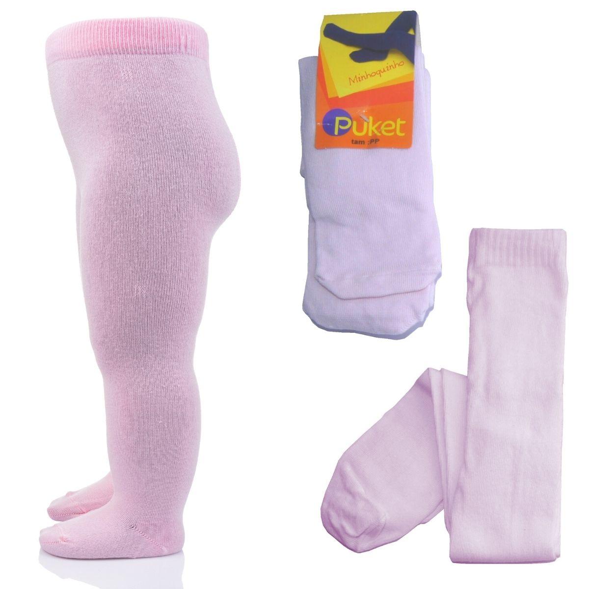 Meia Calça Infantil Grossa Legging Fio 80 Baby Lisa Rosa Puket