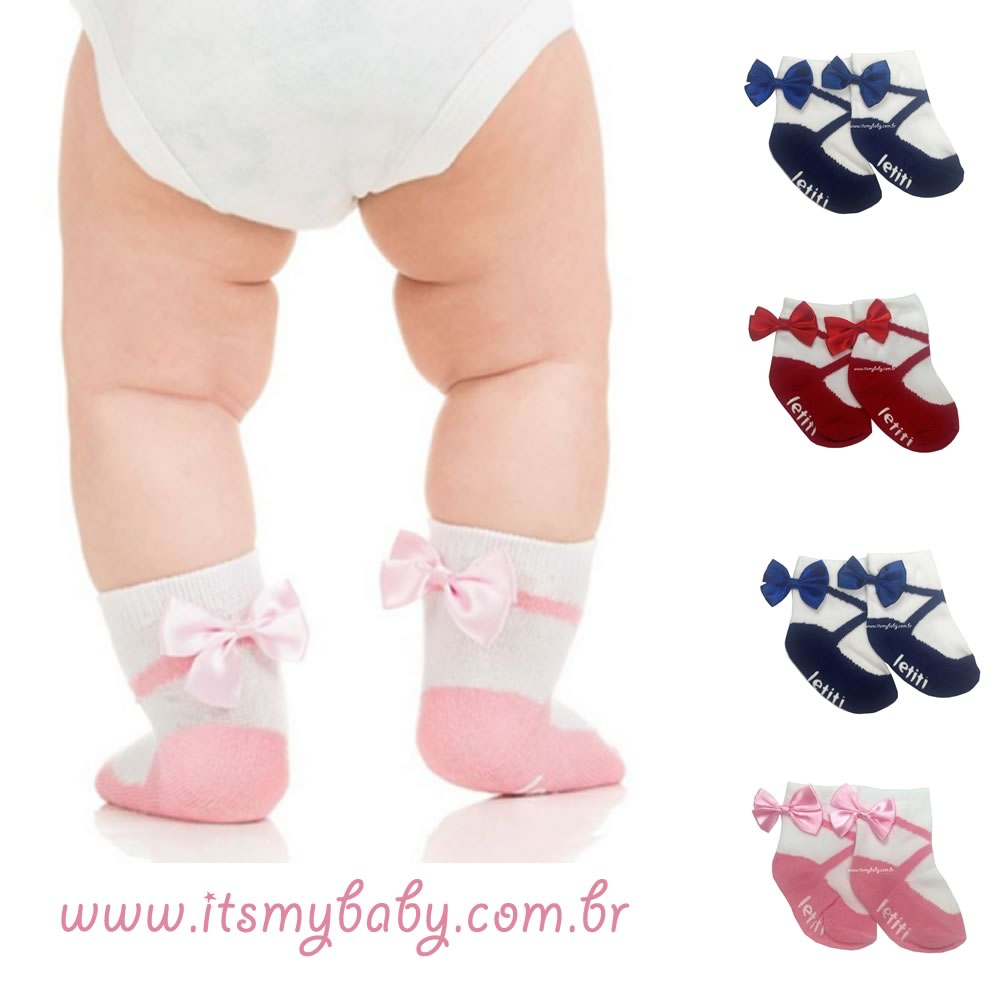 Meia Infantil Manuela Preta Letiti
