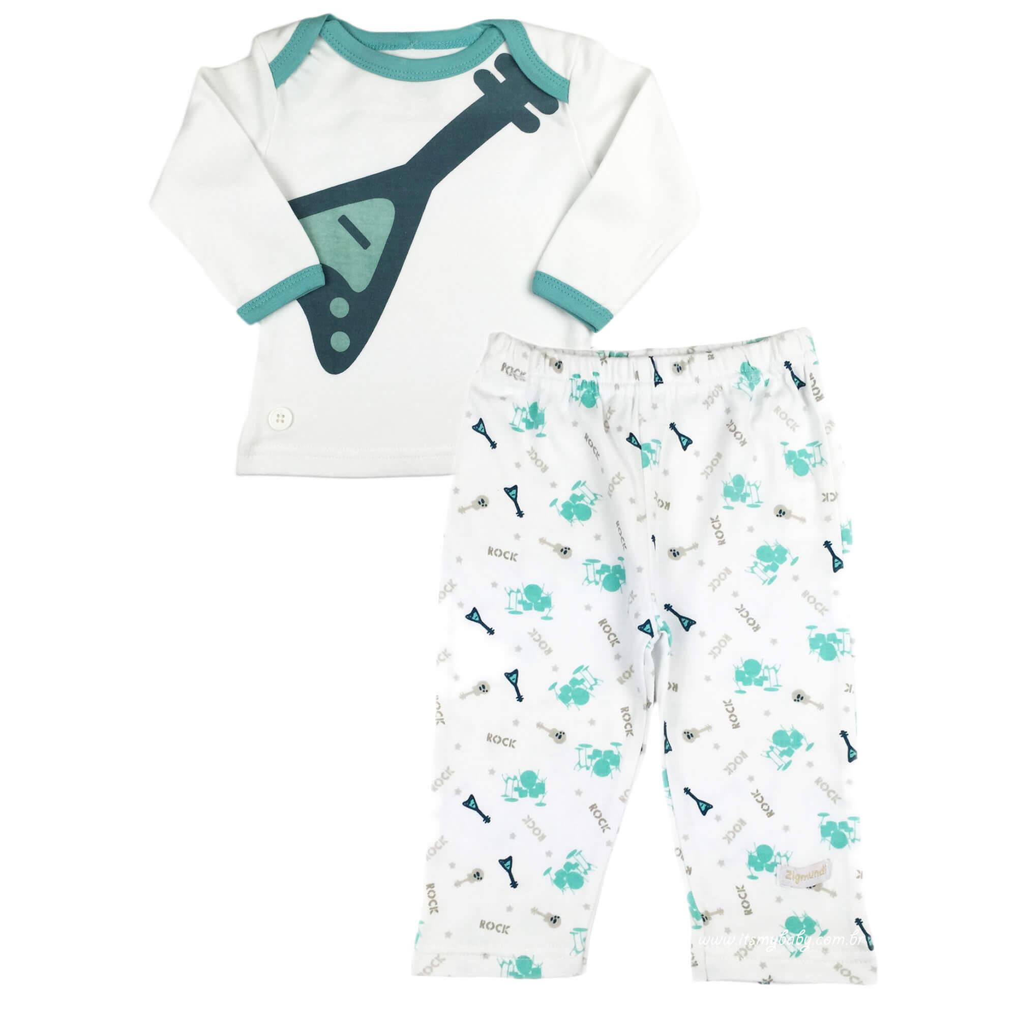 Pijama Infantil Bebê Menino Manga Longa e Calça Comprida Rock in Roll Zig Mundi