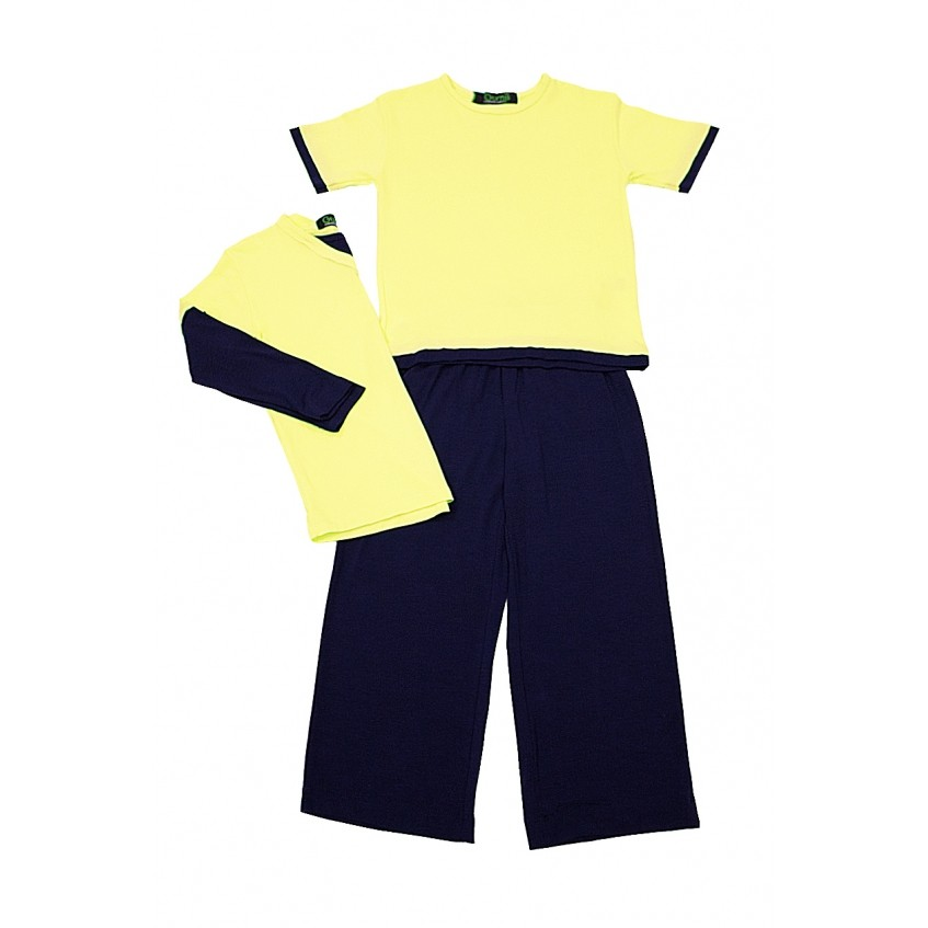 Pijama Infantil Masculino Klaus Amarelo com Marinho Gumii